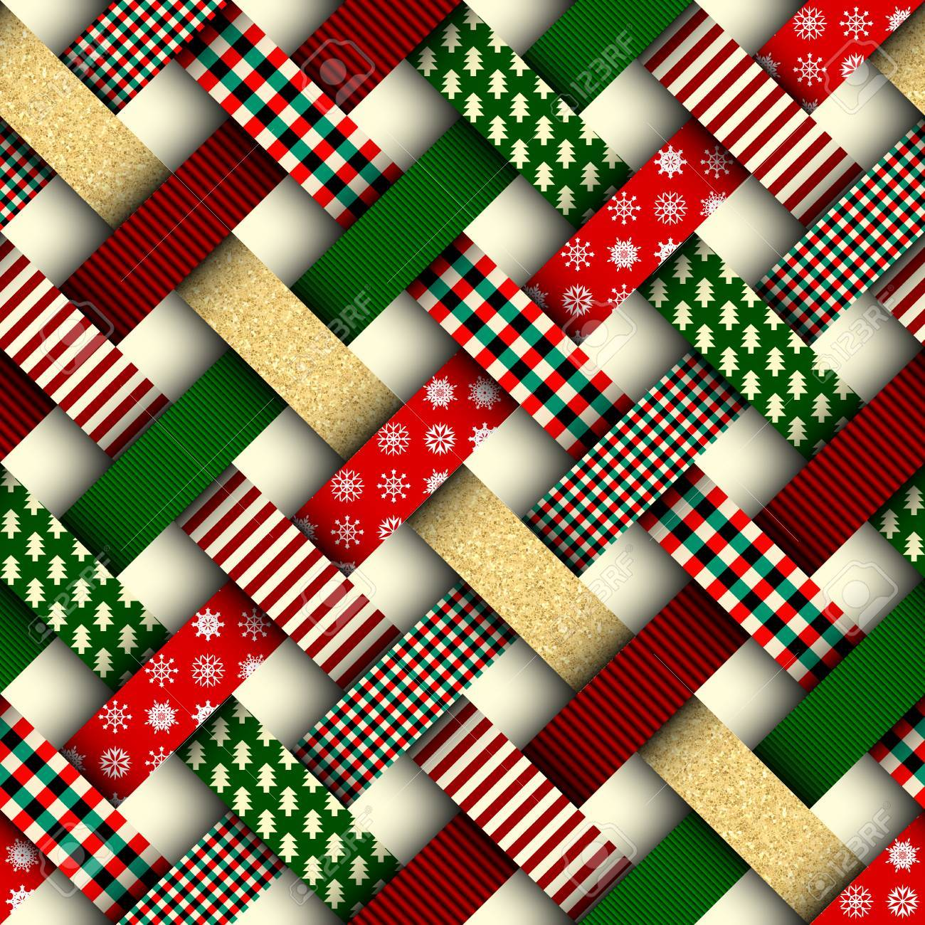 Seamless Christmas background in patchwork style. Interweaving ribbons with Christmas patterns on red background. - 89529164