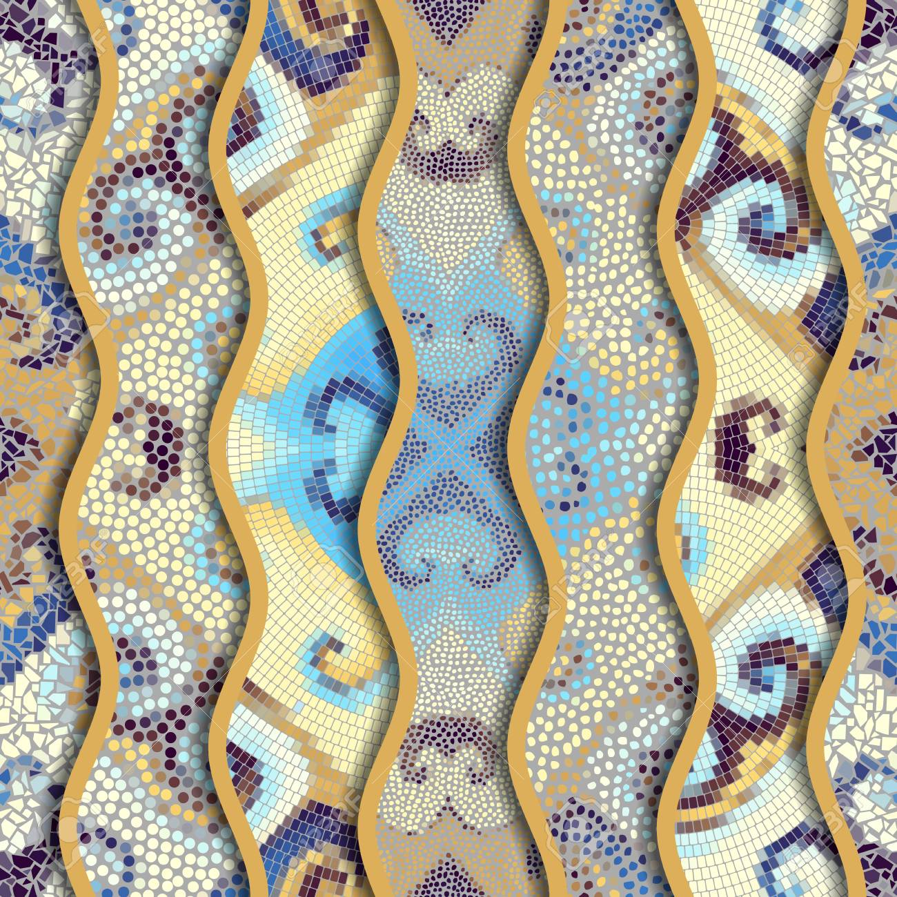 Ornate Seamless Texture Background. Relief Waves Of Ornamental ...
