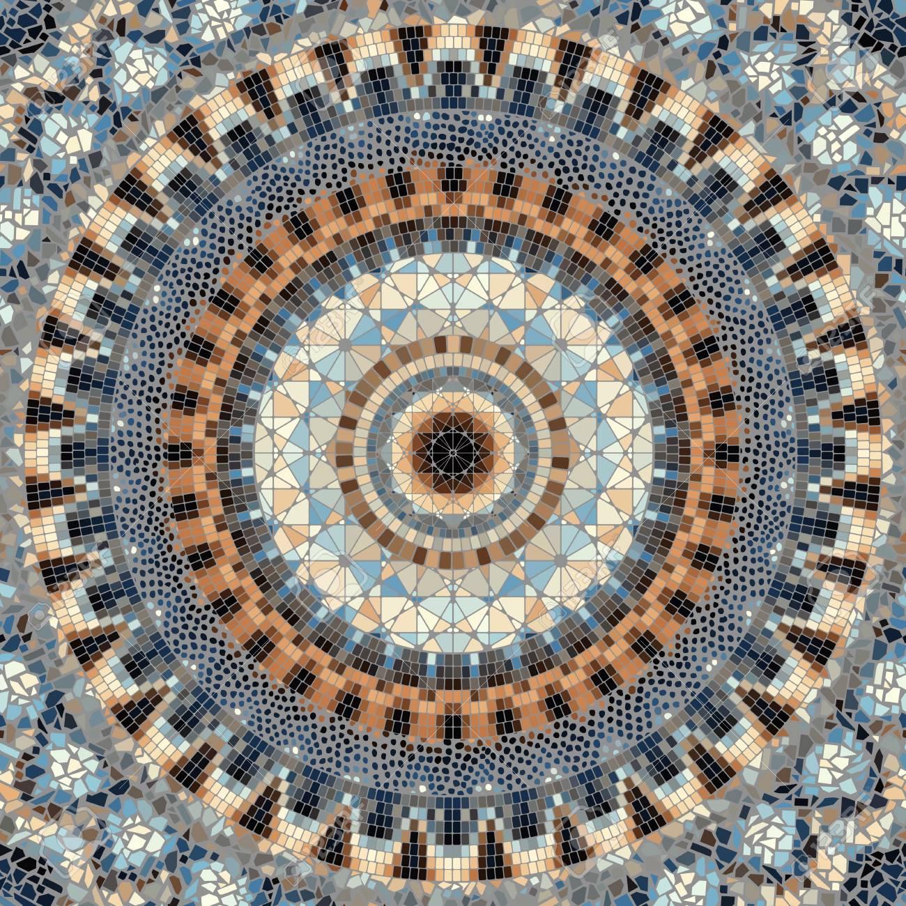 seamless background pattern round mosaic art pattern of different