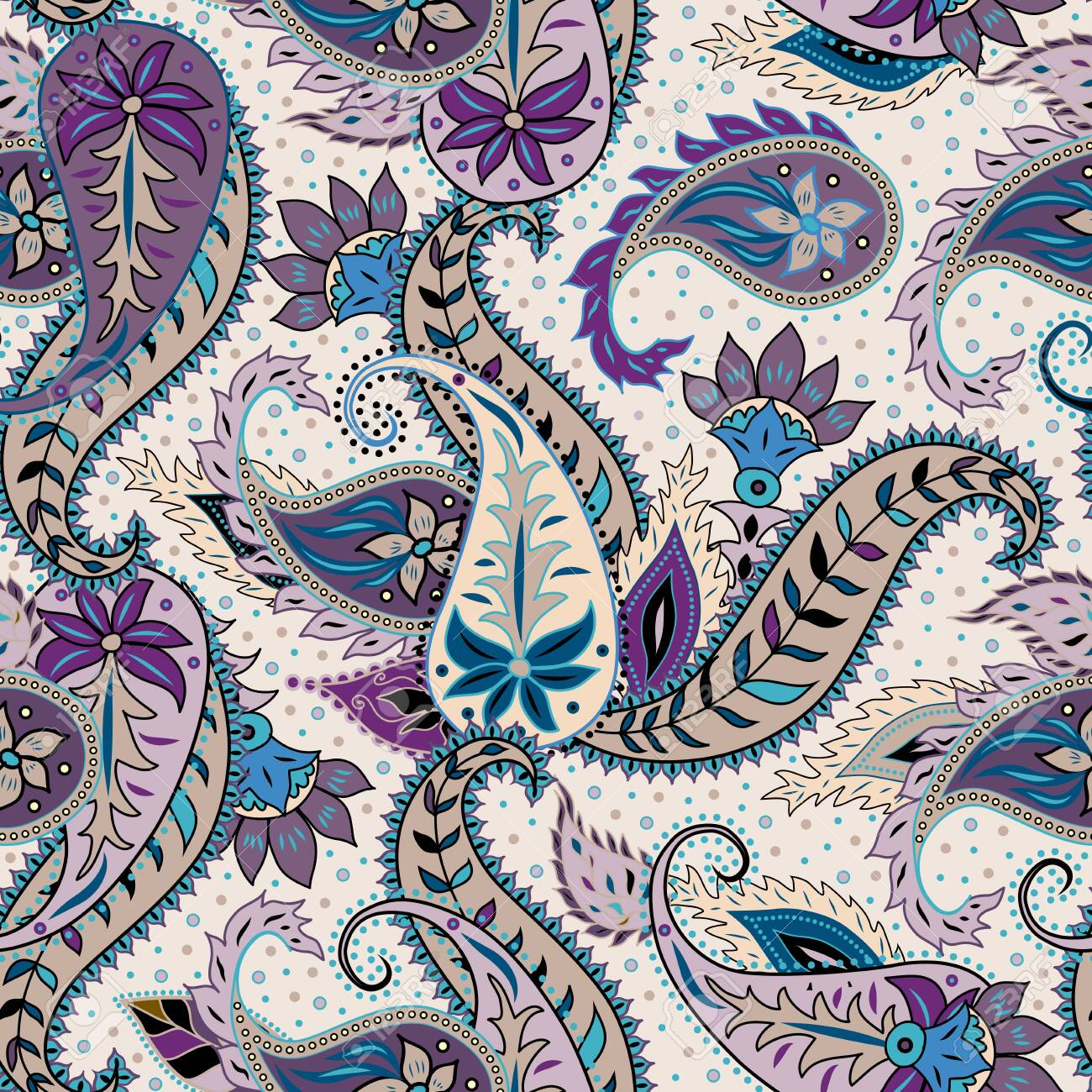 Paisley pattern. Seamless pattern in indian style. Texture of fabric. Vector image. - 138435387