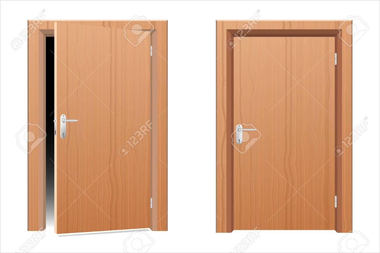 Wooden modern door vector design illustration isolated on white background - 151222218