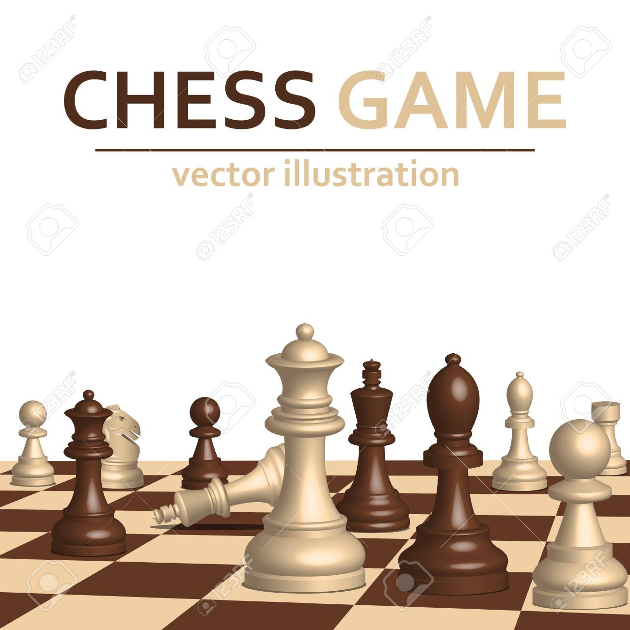 3d chess game pieces vector design illustration isolated on white background - 151109382