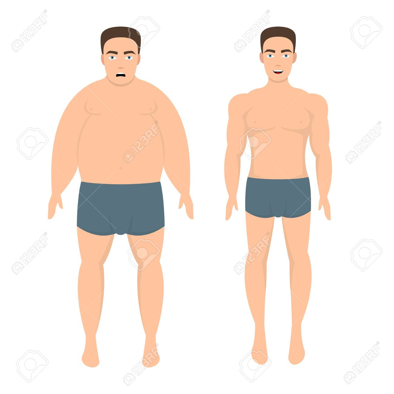 Weight loss man vector design illustration isolated on white background - 156241177