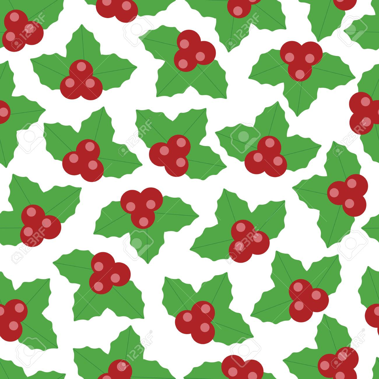 Lovely Vector Christmas Berry Seamless Pattern Background In