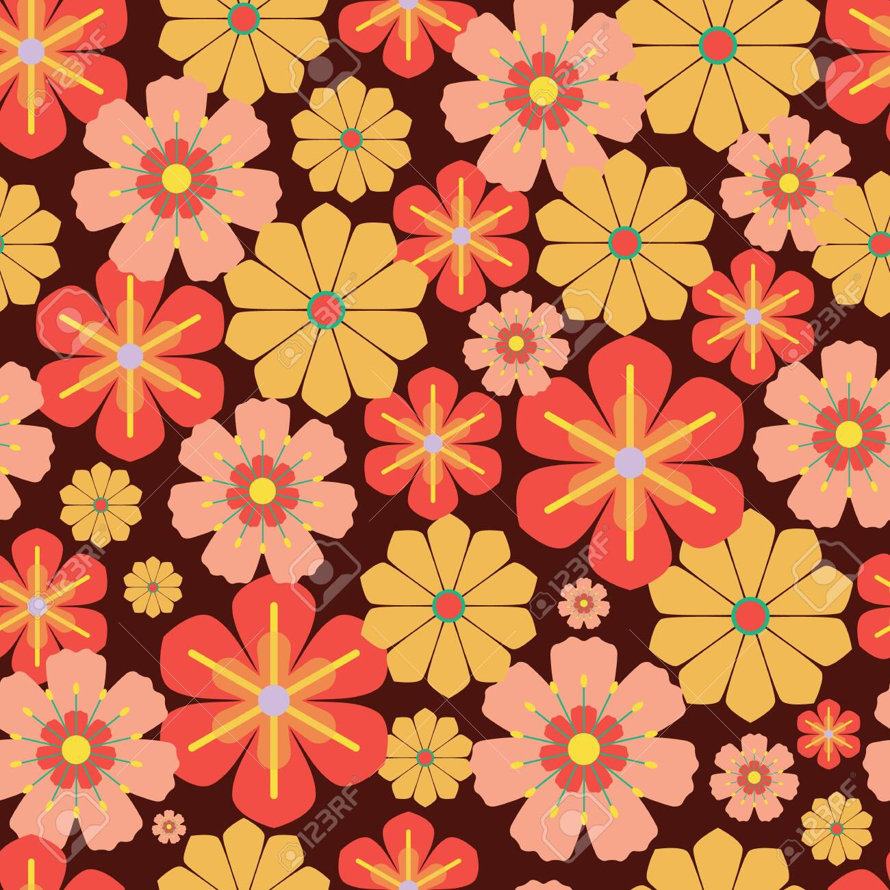 Vector 20s, 20s Retro Vintage Flowers Seamless Pattern Background ...