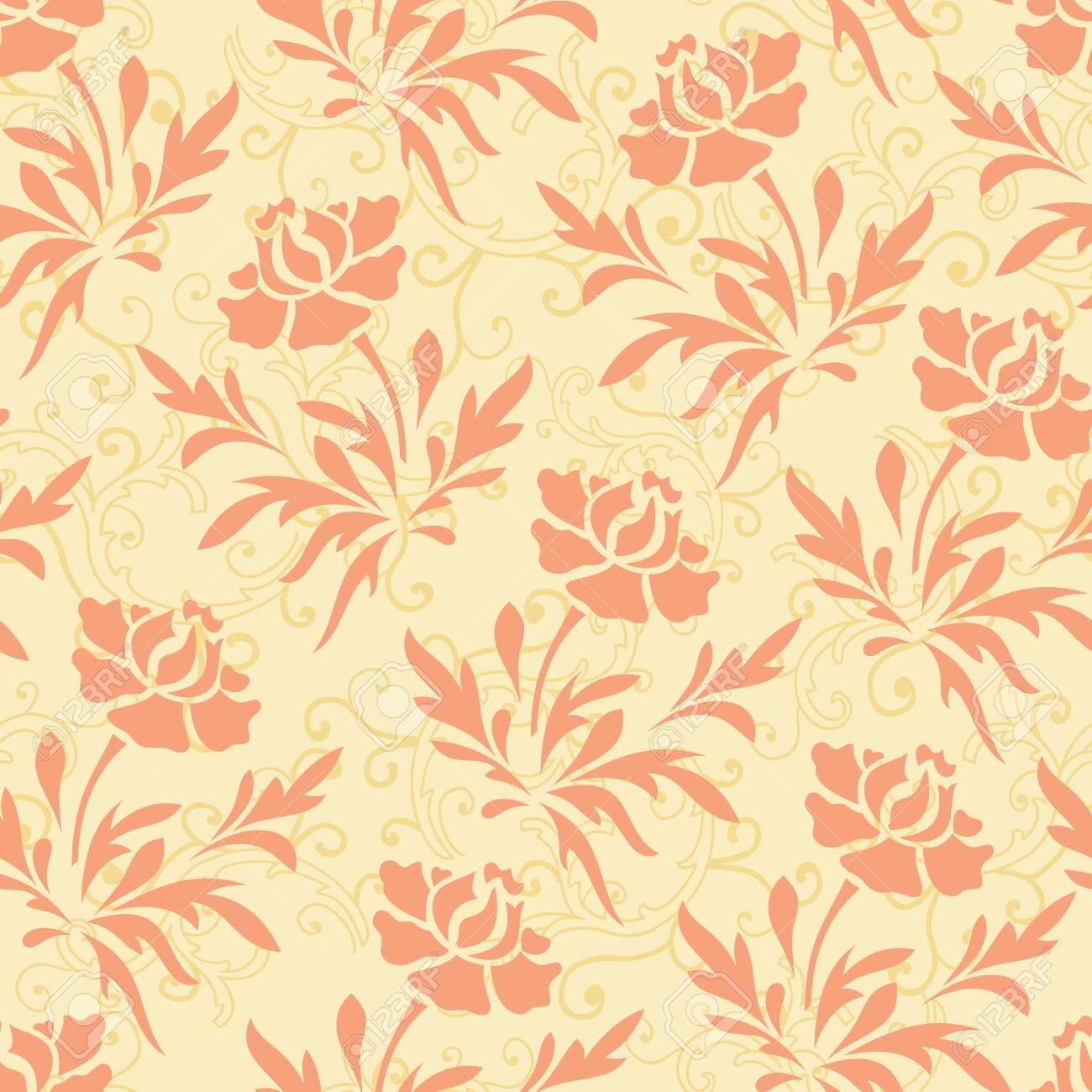 Vector pastel ornage and yellow rose flower with bail seamless pattern background - 144048059