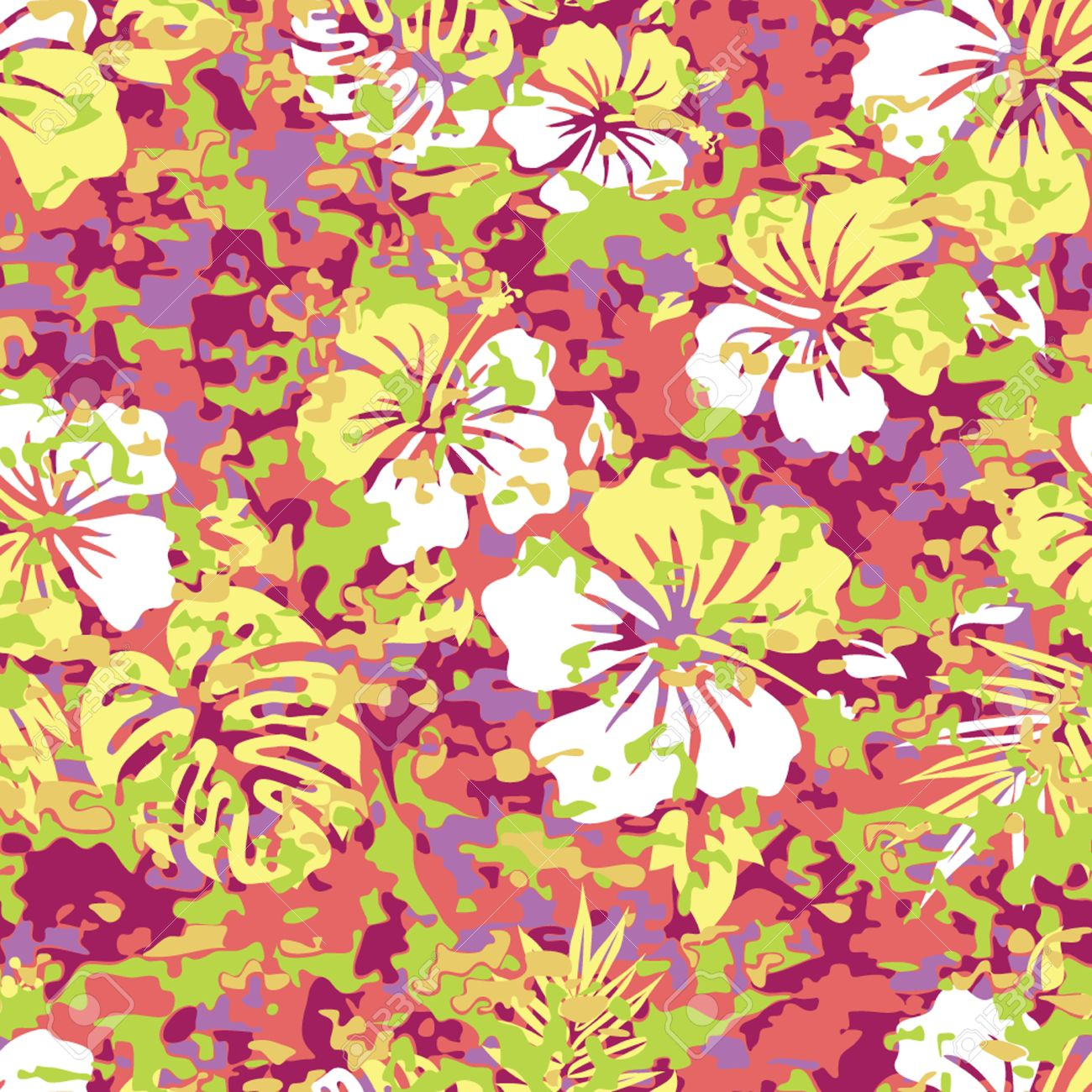 Aloha Hawaiian Shirt Camouflage Seamless Background Pattern Royalty