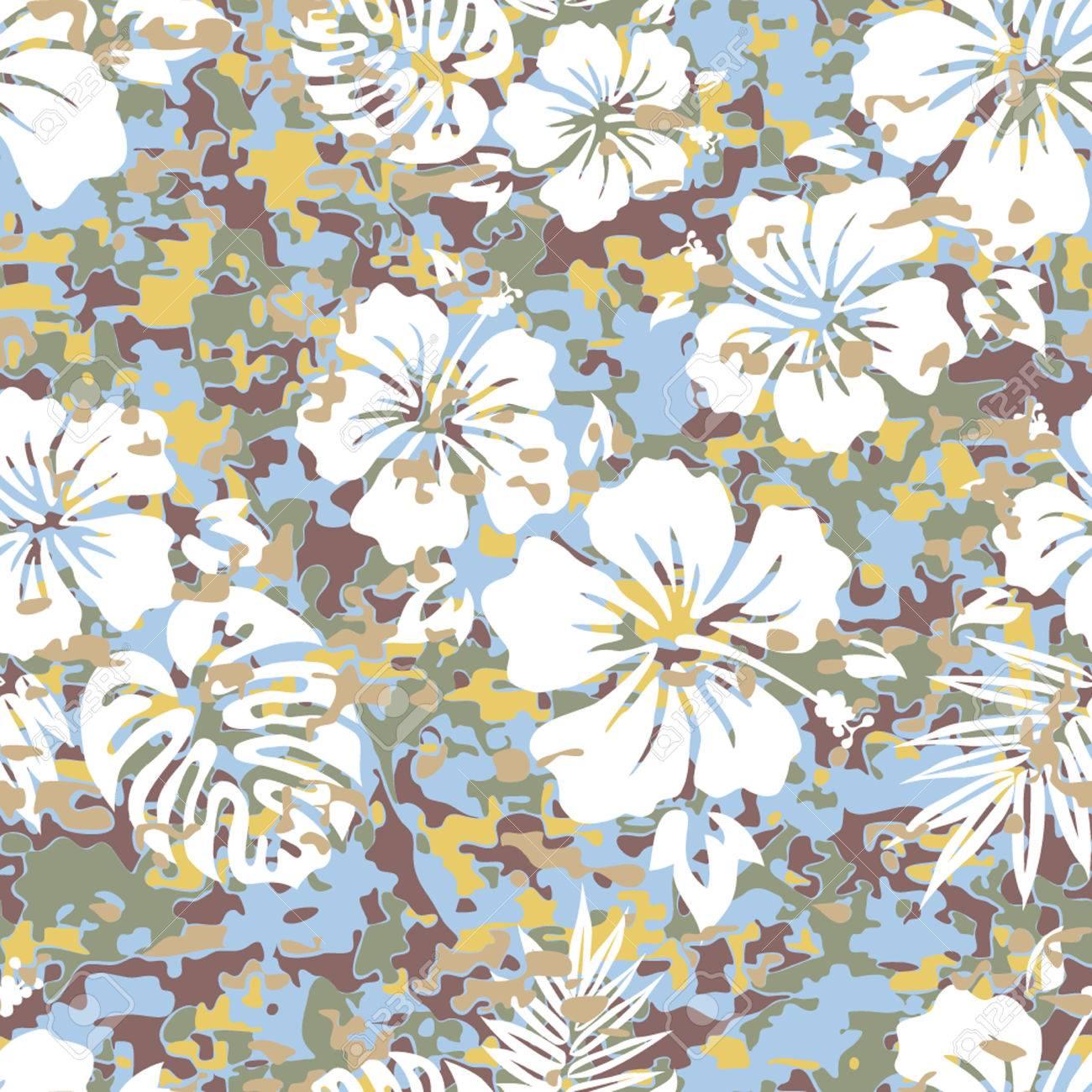 Aloha Hawaiian Shirt Camouflage Seamless Background Pattern Stock Vector