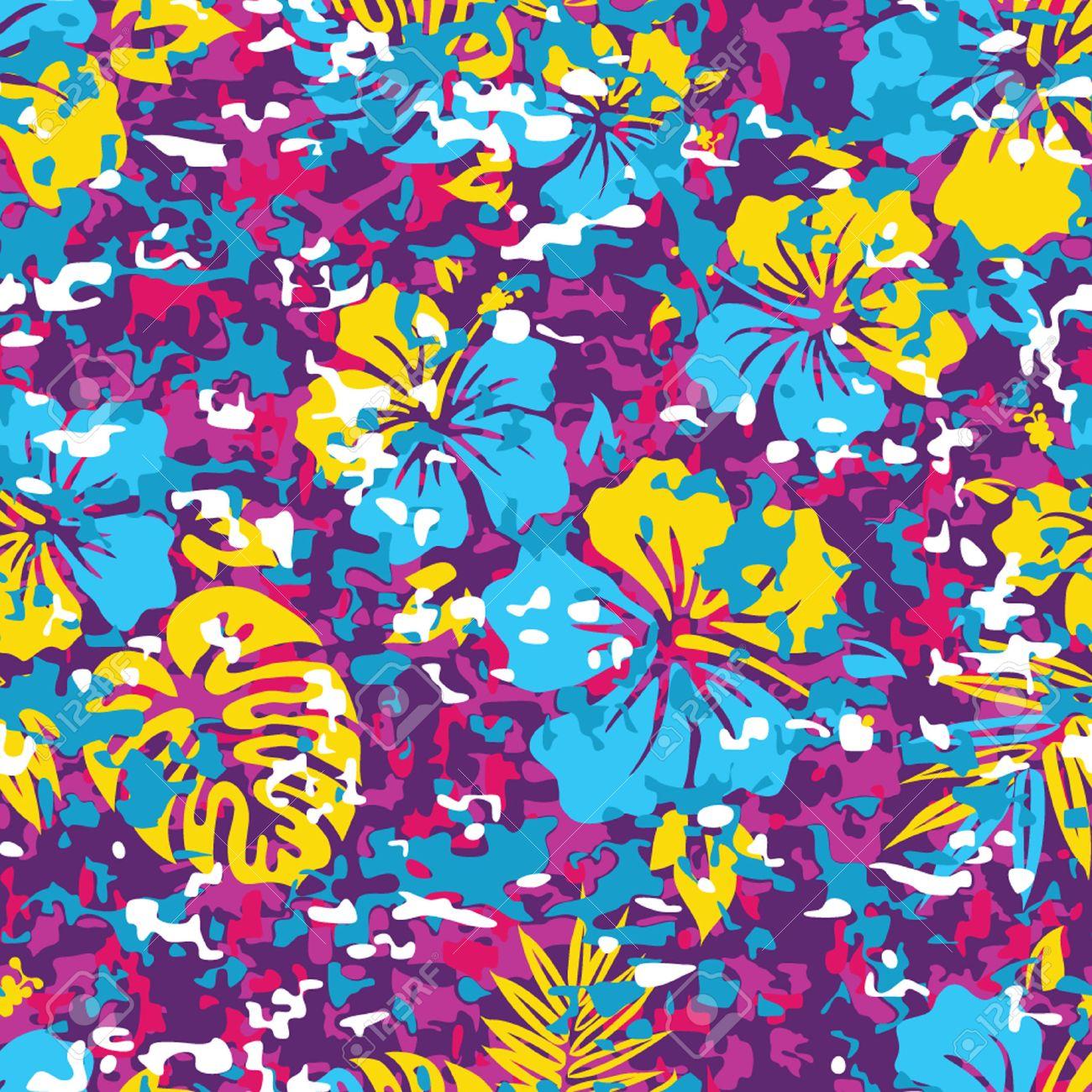 Aloha Hawaiian Shirt Camouflage Seamless Background Pattern