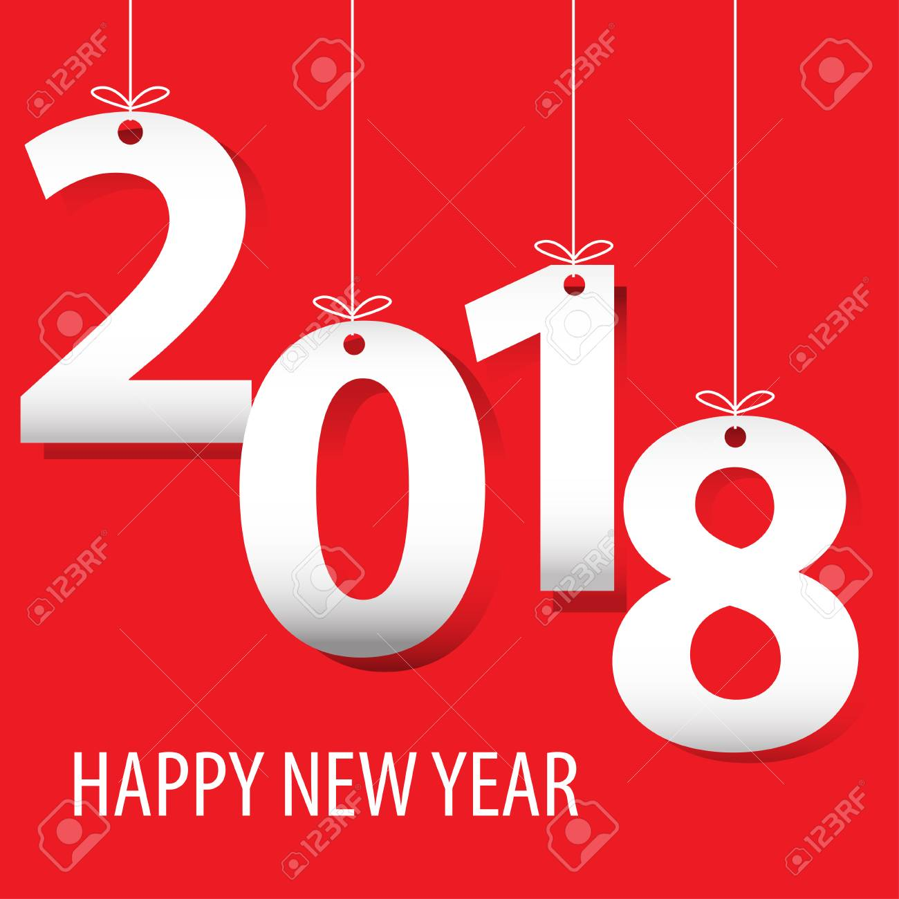 happy new year 2018 white number paper cut on red background design for countdown holiday festival