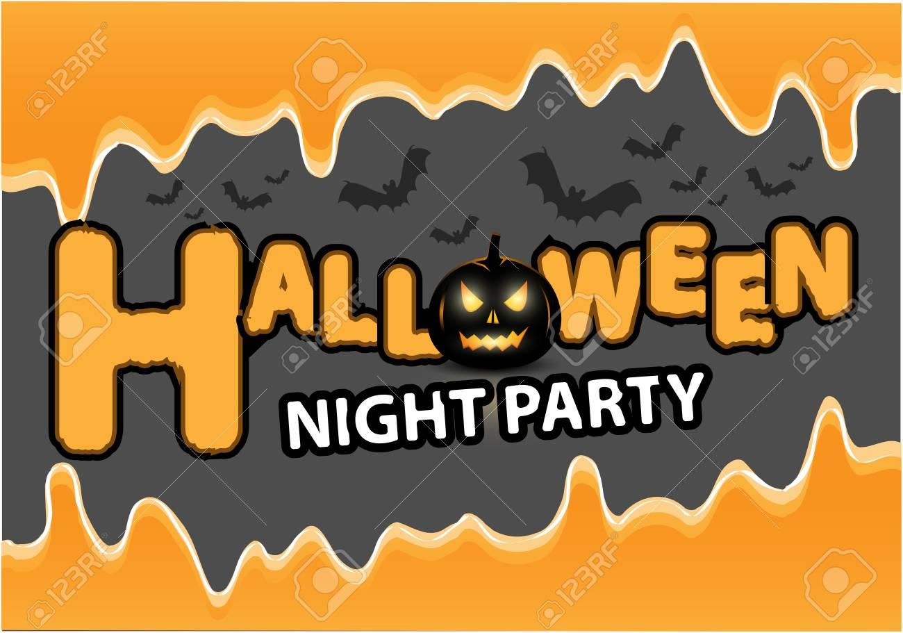 Elegant Happy Halloween Night Party Black Pumpkin Bat Orange Liquid On Gray Design  Holiday Festival Background Vector