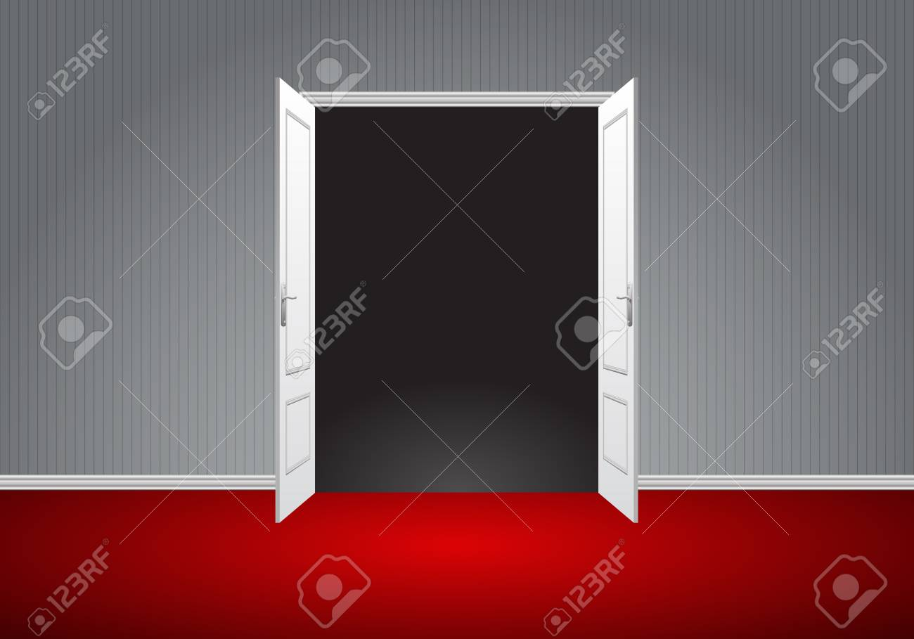 open double doors. Realistic White Double Door Open On Gray Wall Red Floor Room Perspective Vector Illustration. Stock Doors 4