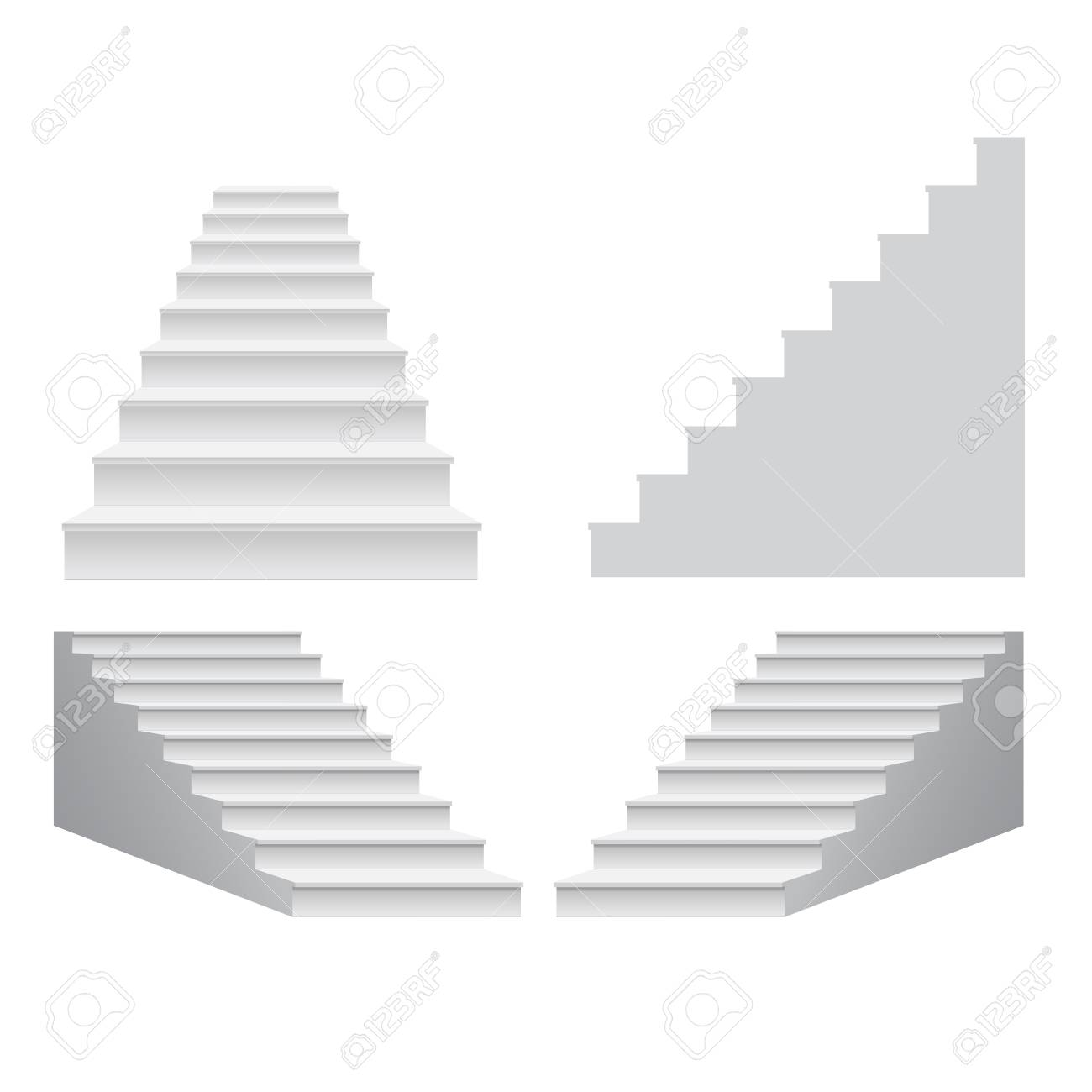 White Stair Template Set Collection. 3D Isolated Vector Illustration ...