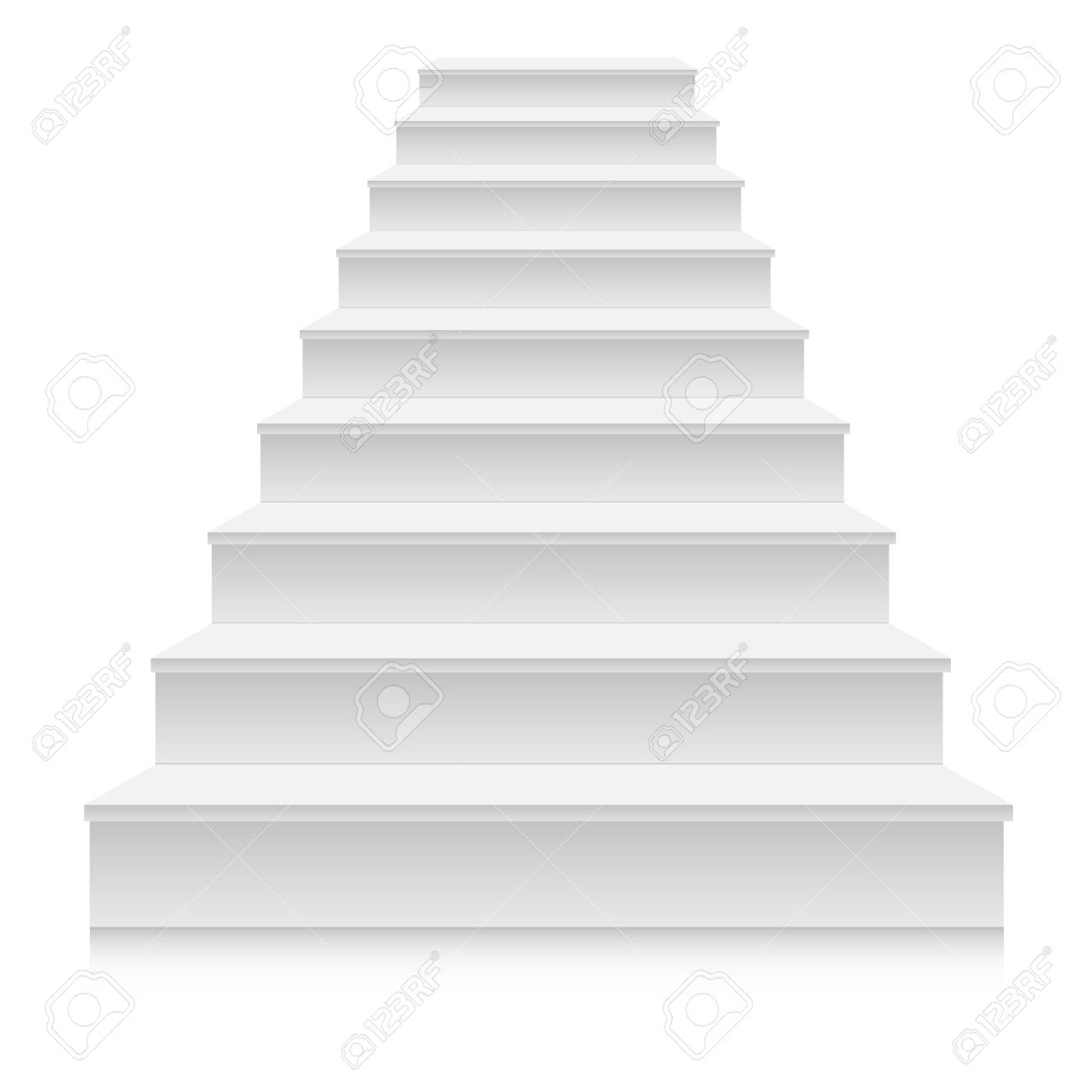 White stair template front view  3D isolated vector illustration