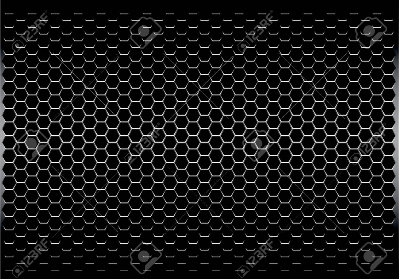 Dark gray hexagon metal mesh pattern design modern futuristic background texture vector illustration. - 97012073