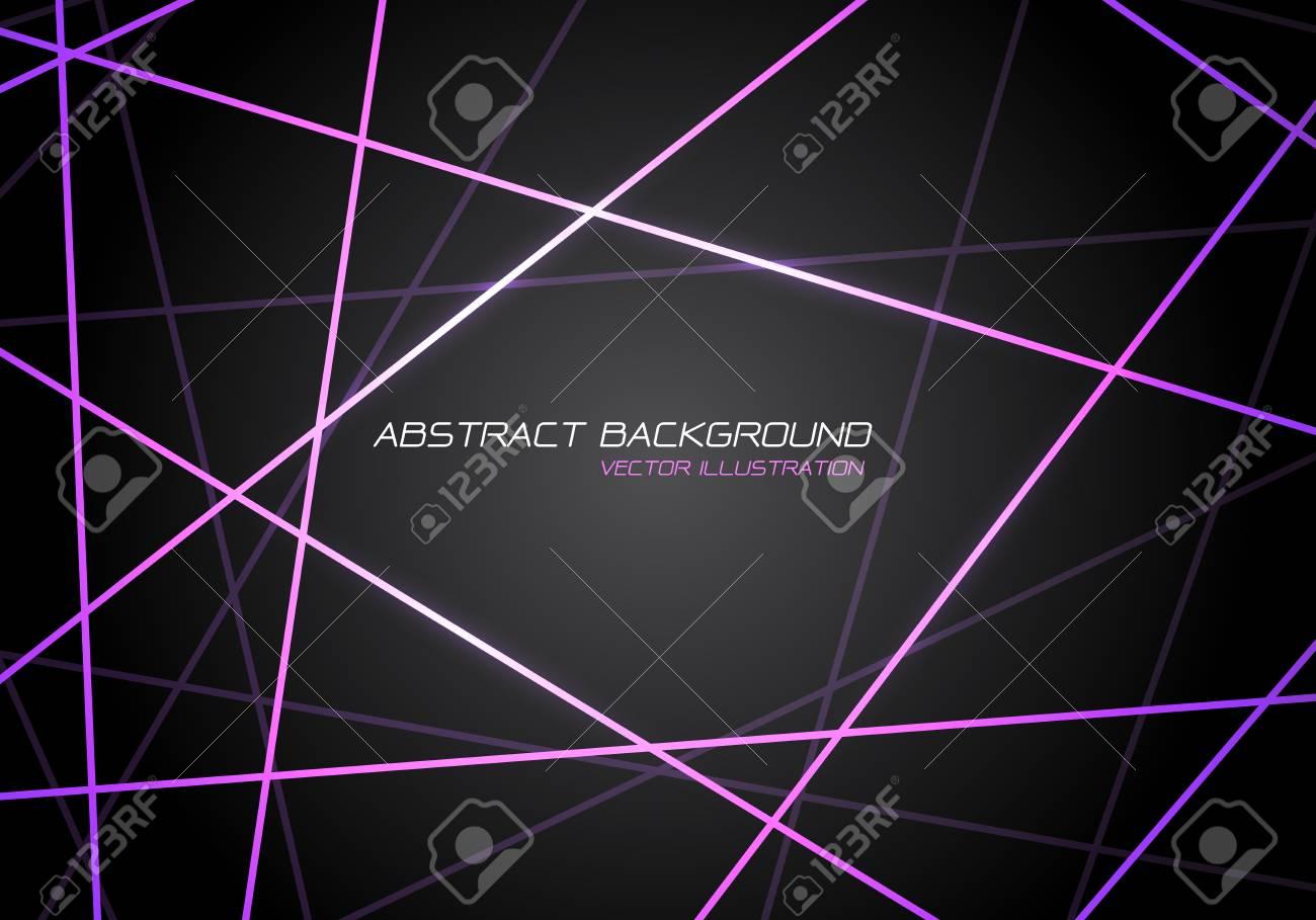 Abstract violet line light laser cross overlap on dark grey design modern technology futuristic background vector illustration. - 121192546
