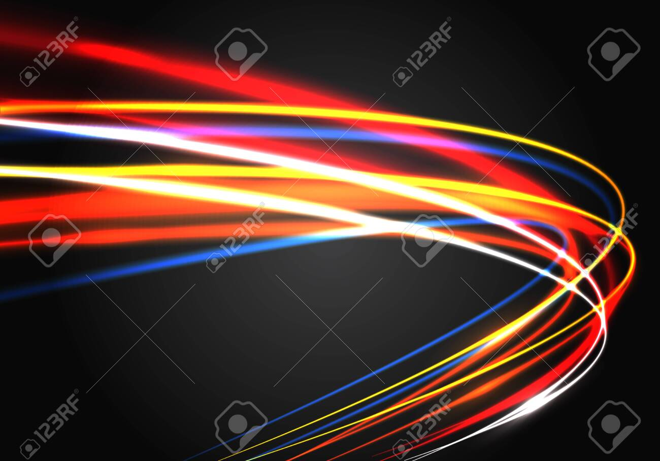 Abstract color light fast speed curve motion on black technology luxury background vector illustration. - 122525983