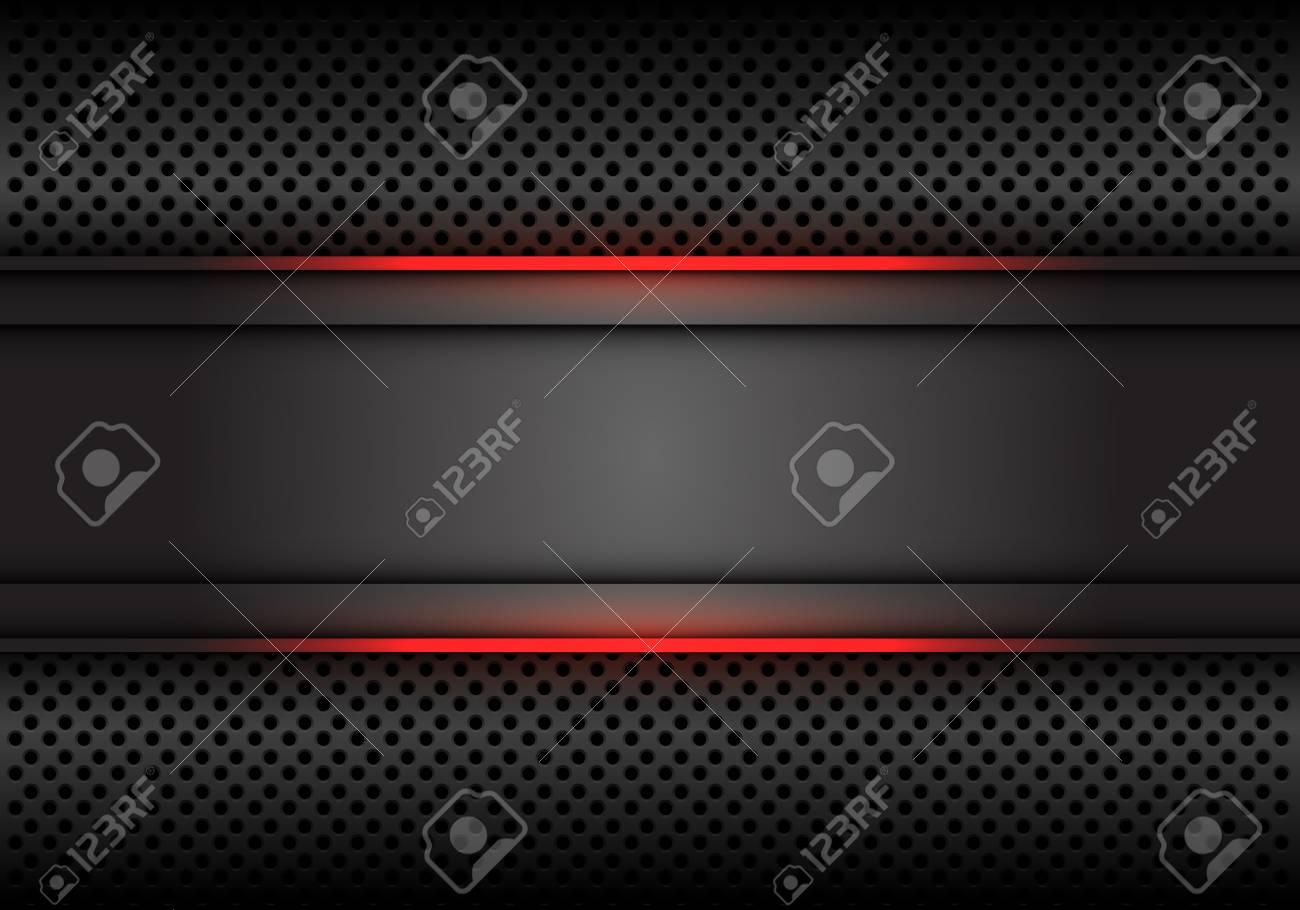 Abstract red light line dark grey banner on circle mesh design modern luxury futuristic background vector illustration. - 122699869
