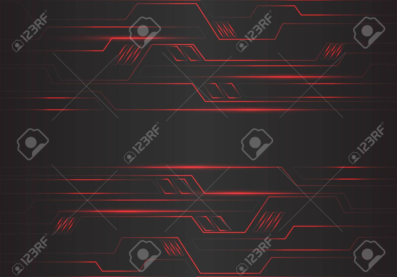 Abstract red circuit polygon geometric light lines power energy on black design modern futuristic technology background vector illustration. - 134723427