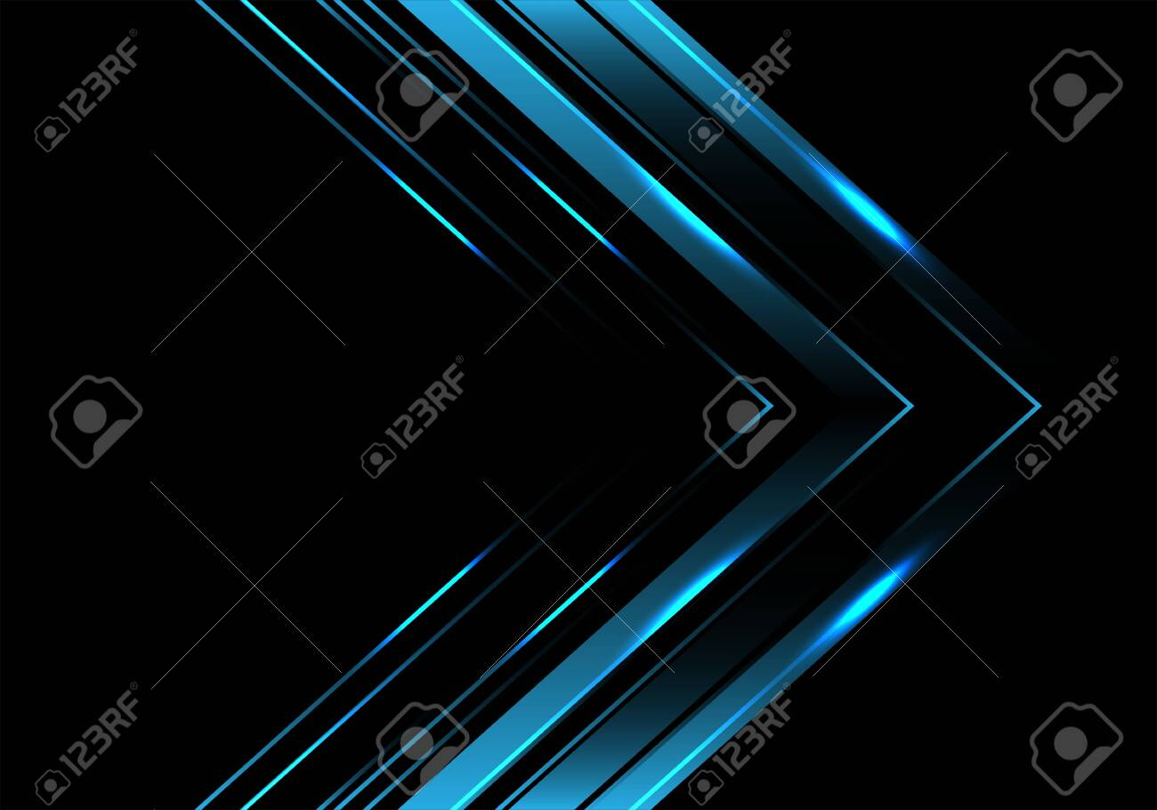 Abstract blue metallic arrow direction on black luxury design modern futuristic background vector illustration. - 137892871