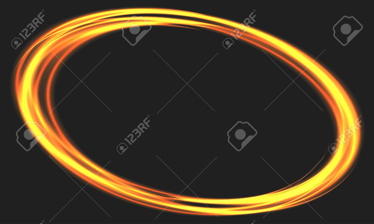 Abstract fire ring motion on black with blank space background vector illustration. - 152515002