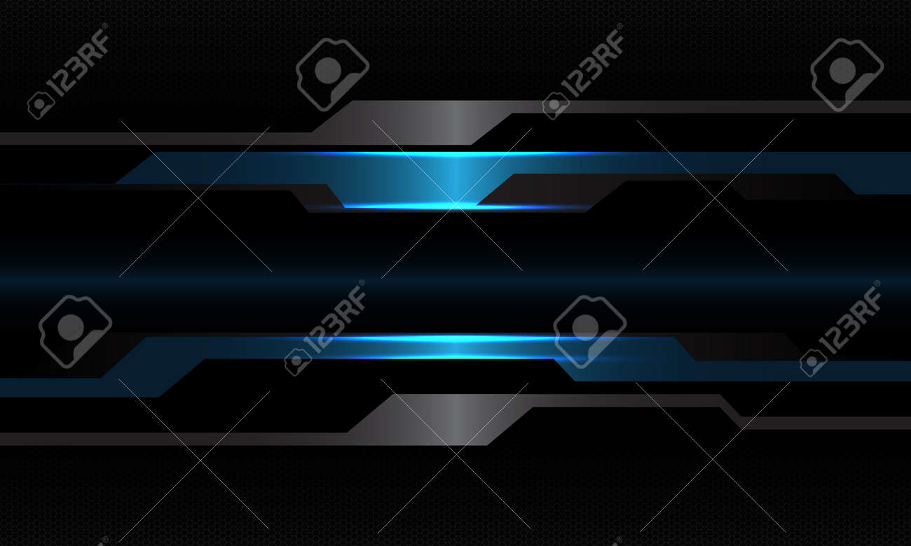 Abstract blue black metallic cyber geometric with blank space design modern technology futuristic background vector illustration. - 156122013