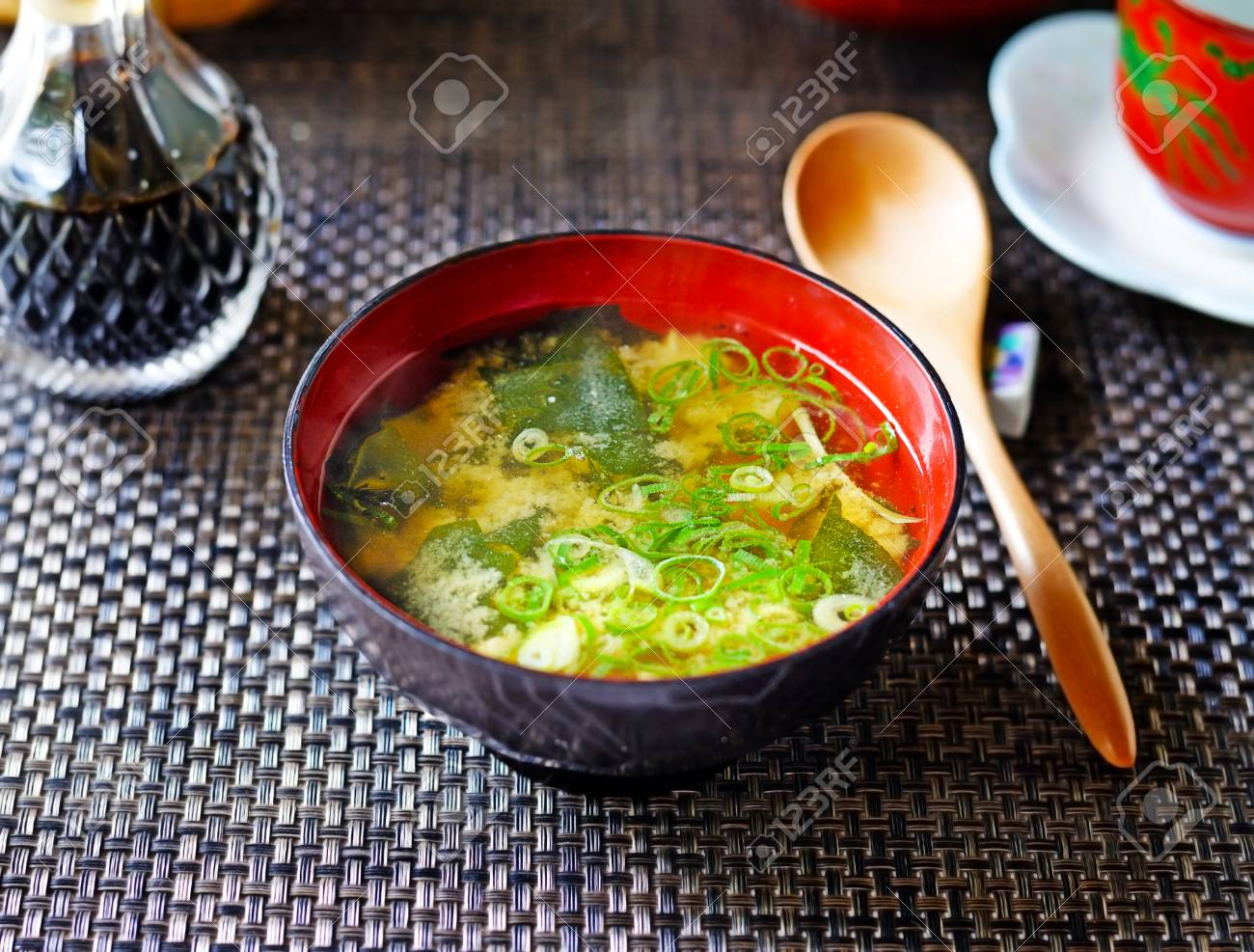 A Closeup Of A Steaming Bowl Of Japanese Miso Soup From Above