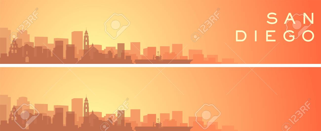 San Diego Beautiful Skyline Scenery Banner Royalty Free Cliparts Vectors And Stock Illustration Image 136137951