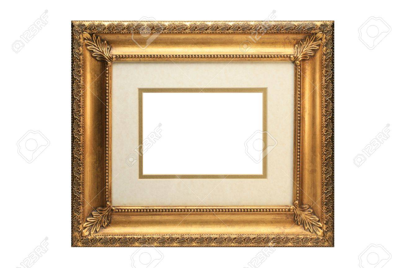 gold picture frame with matting on a white background stock photo