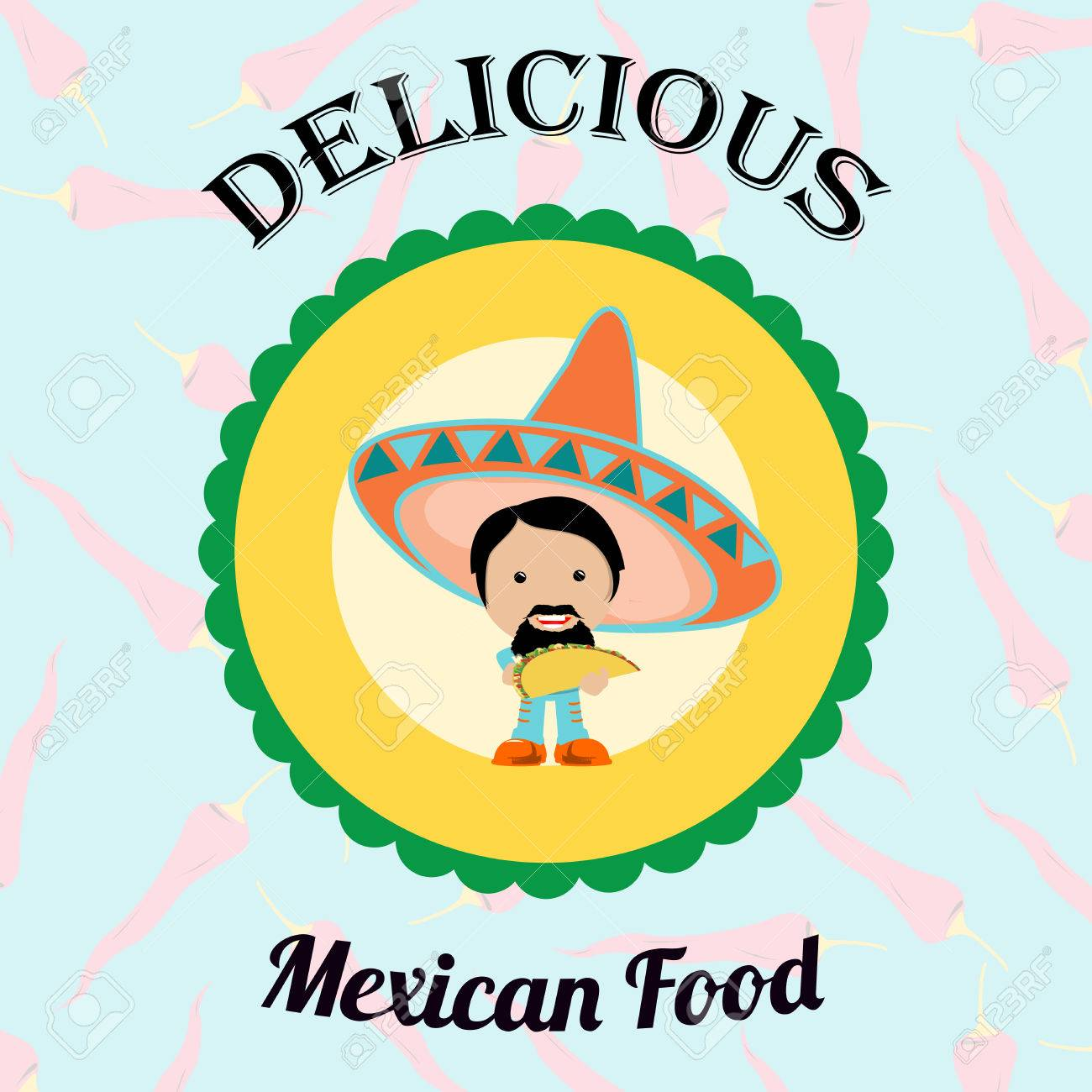 Mexican Food Illustration Over Color Background Royalty Free ...