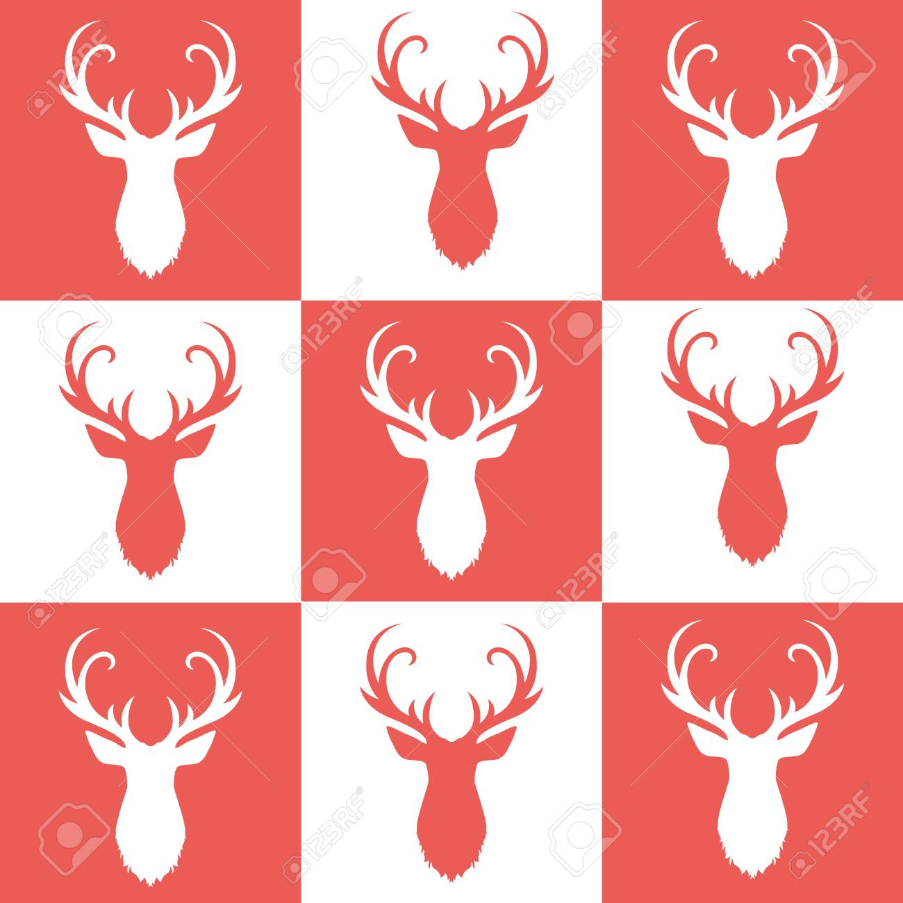 Pattern Of Deer Heads On Background Of Red And White Frames Royalty ...