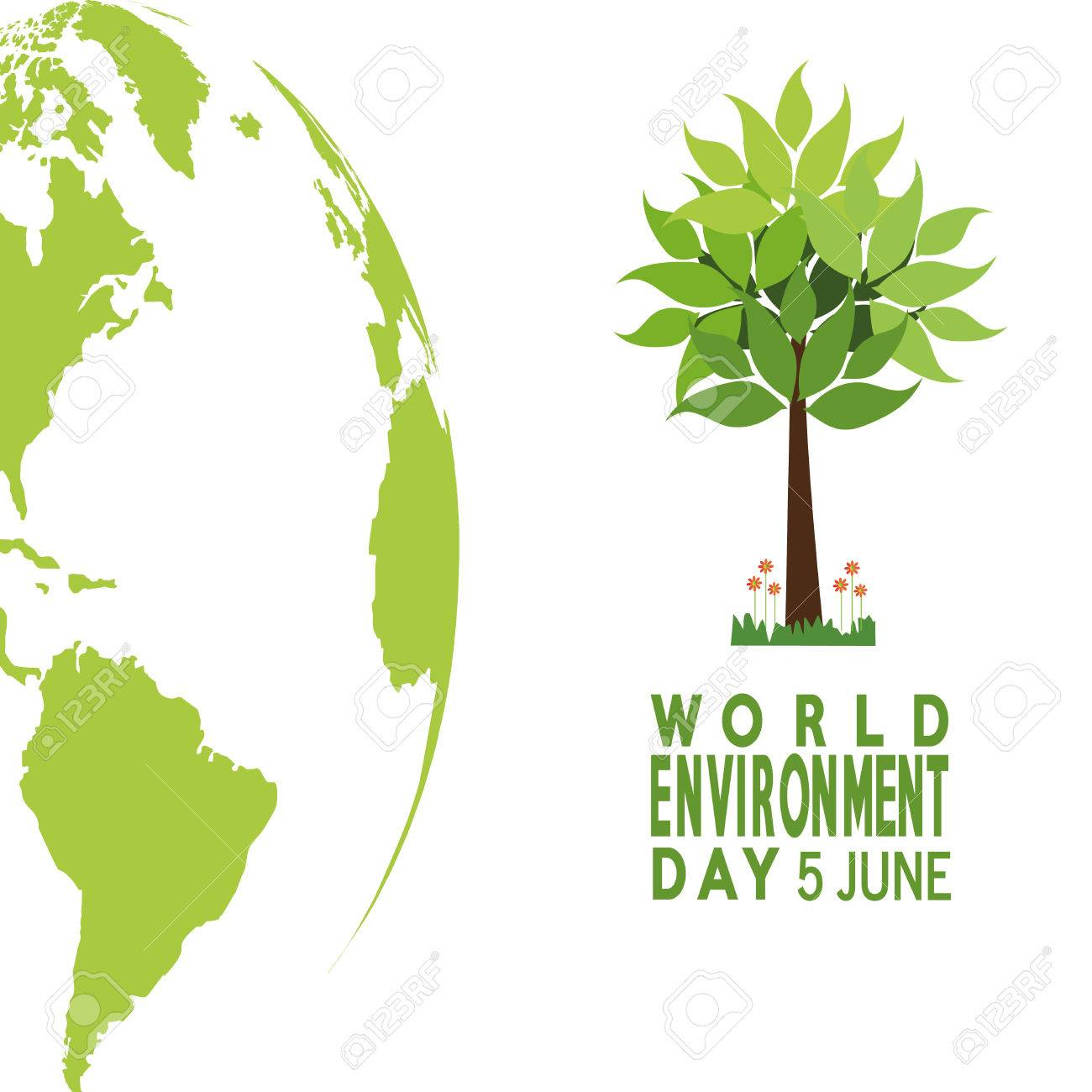 Vector Of A World Environment Day, Tree And Planet Over Green ...