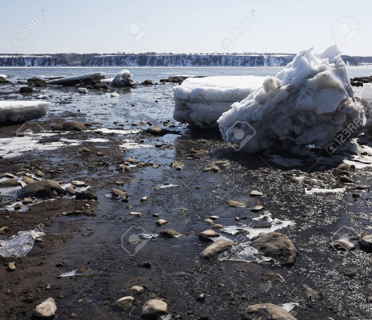 St-lawrence Fleuve during the spring in canada Stock Photo - 4560953