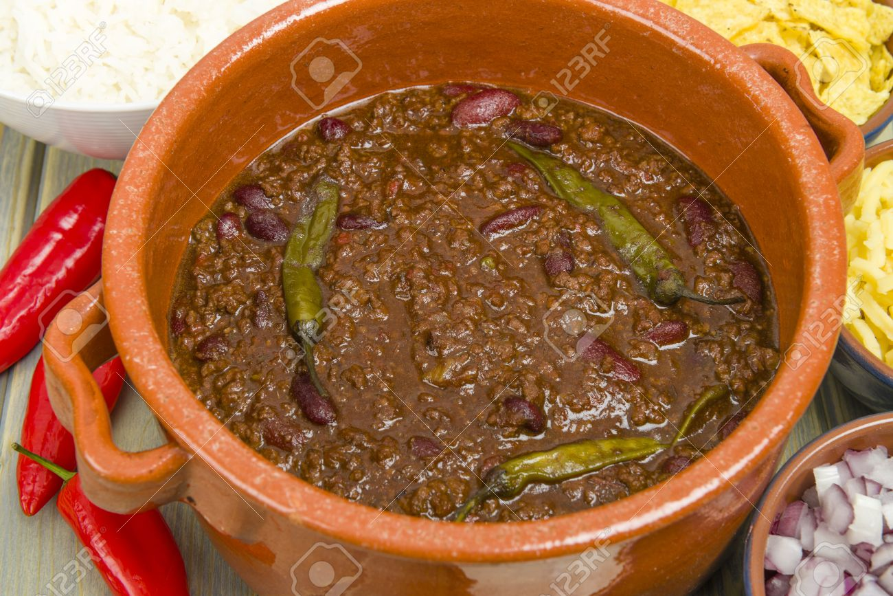 Chili Con CarneSpicy Minced Beef Stew With Chilies Sides
