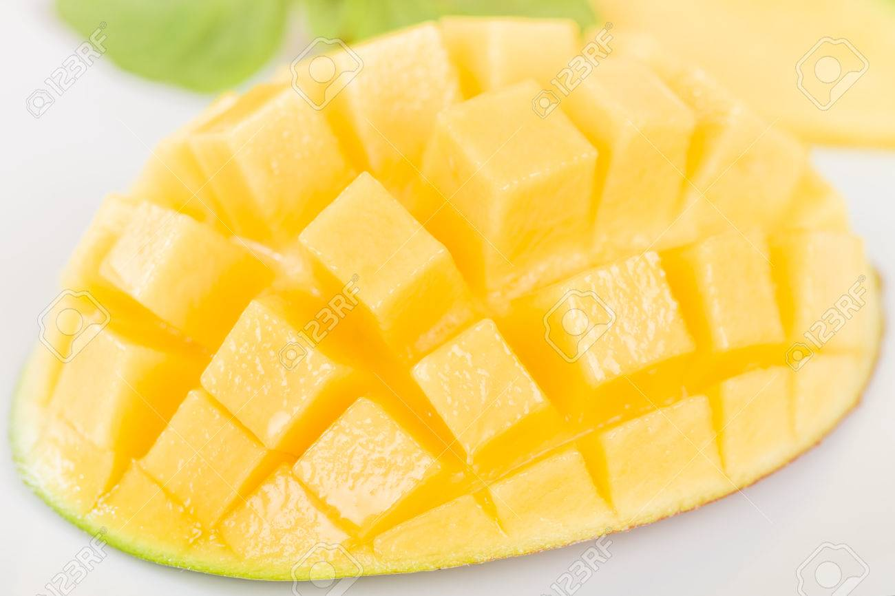 Mango Hedgehog Style Cut Ripe Mango Half On A White Background Stock Photo  Mango Hedgehog Style
