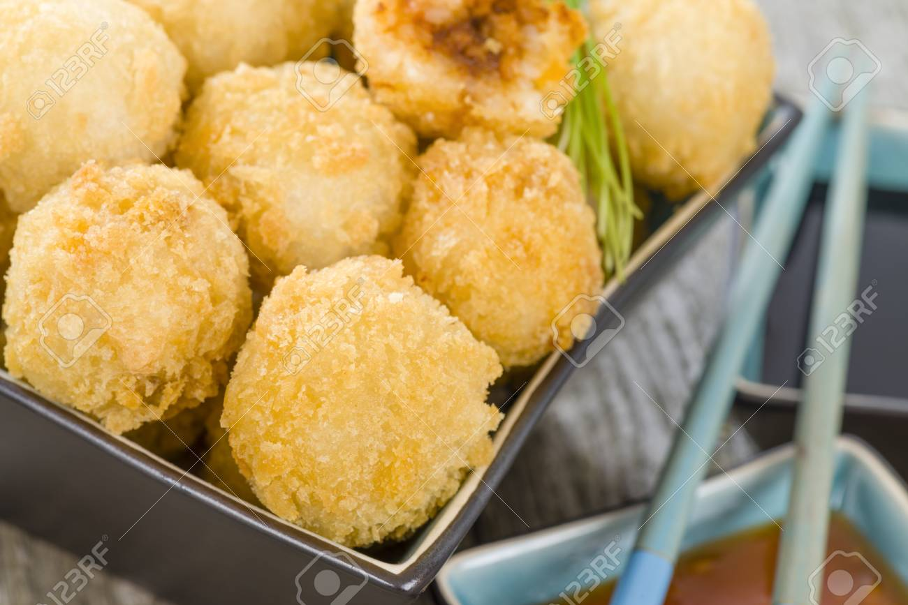 Katsu Chicken Balls Japanese Style Breaded And Deep Fried Rice Stock Photo Picture And Royalty Free Image Image 49355199