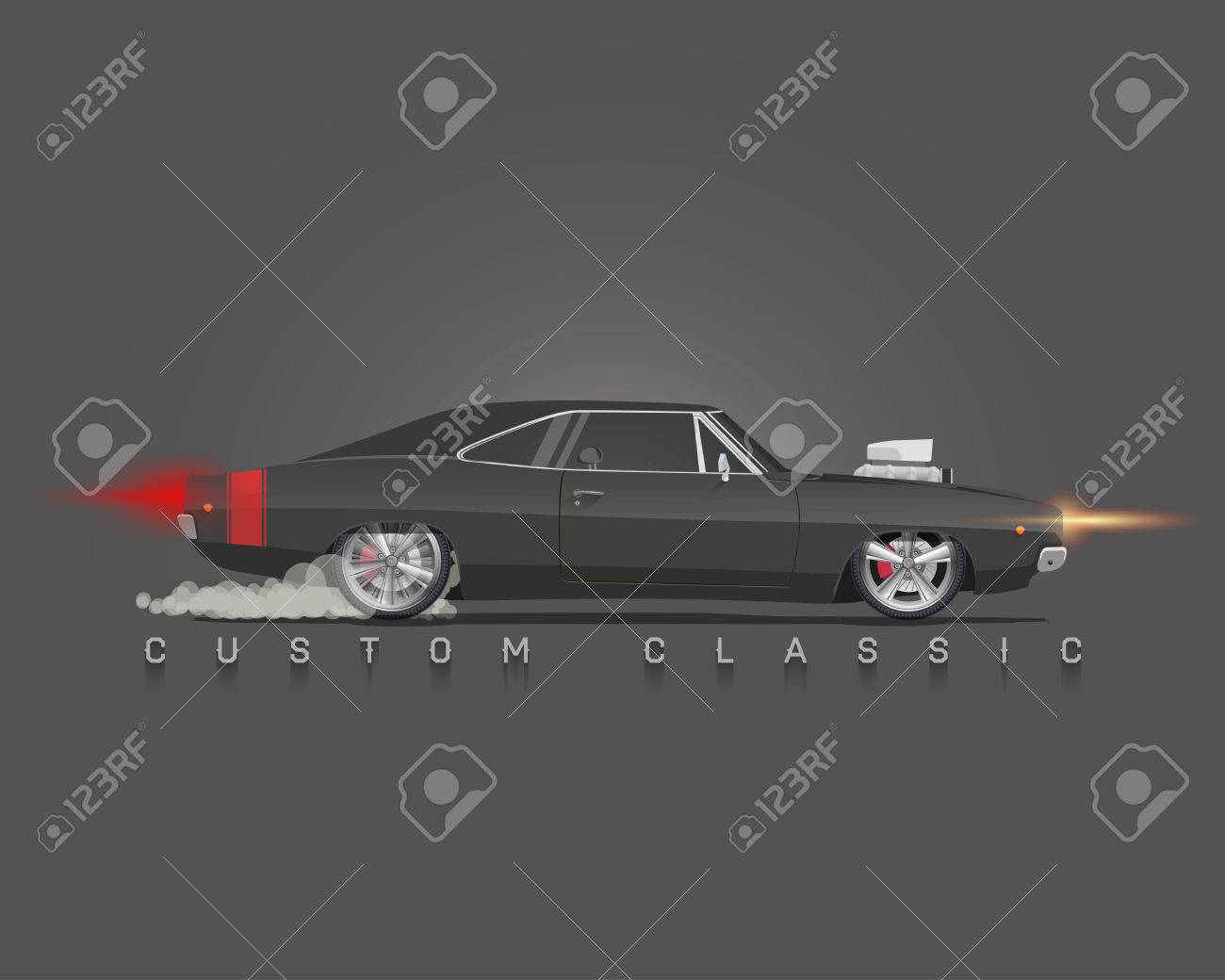 Classic 70s Muscle Car Side View High Detailed Vector Illustration