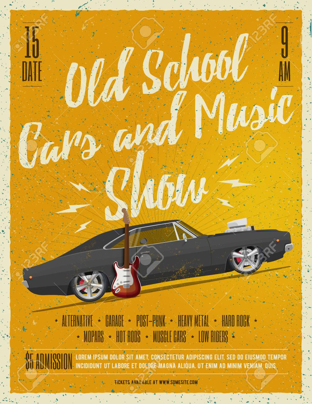 Old School Cars And Music Show Poster. Flyer. Vintage Styled ...