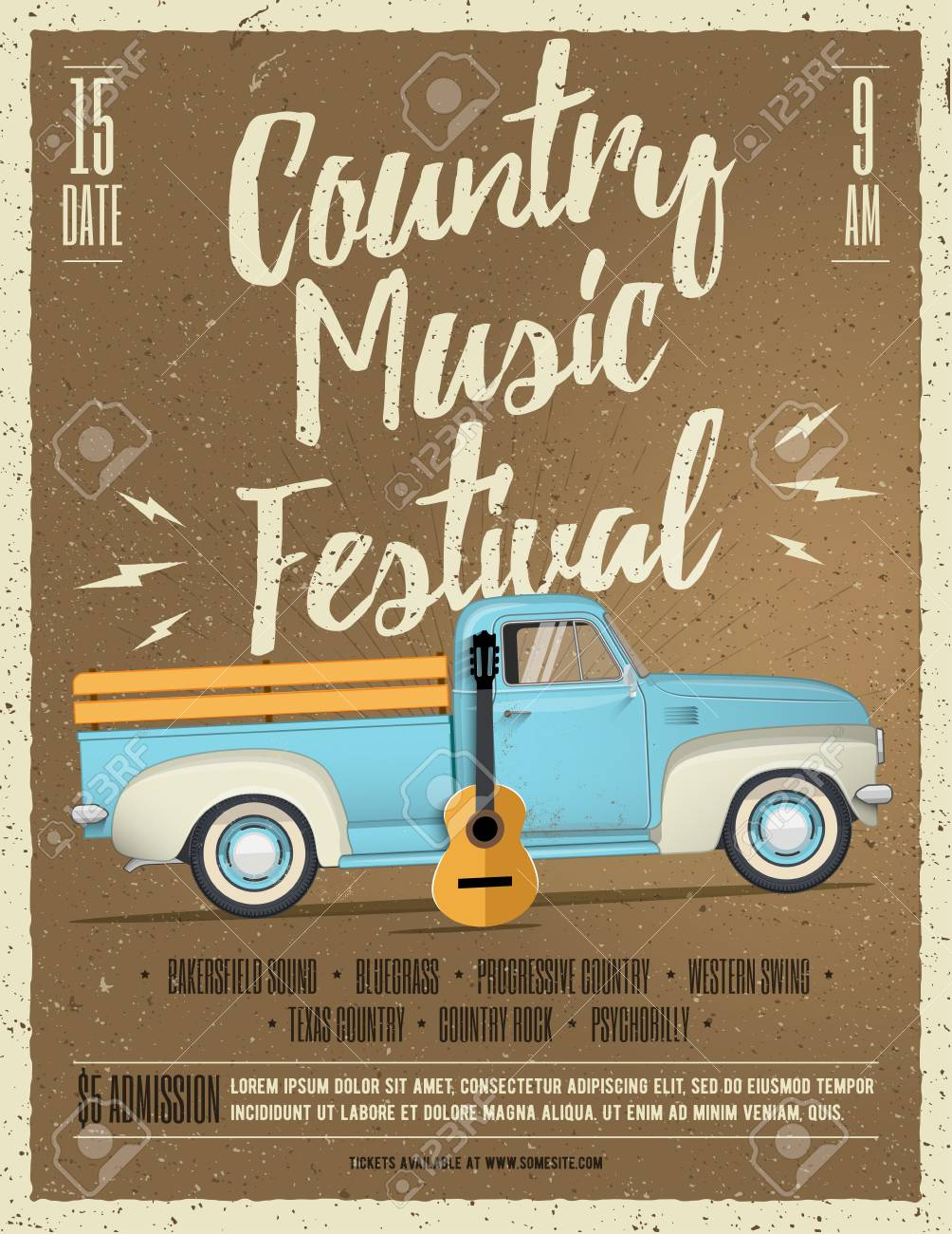 Country Music Festival Flyer. Vintage styled vector illustration. Event  poster Stock Vector - 81968039
