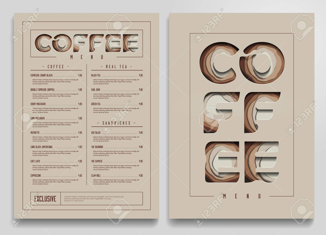 coffee shop menu template coffee cart mock up vector illustration
