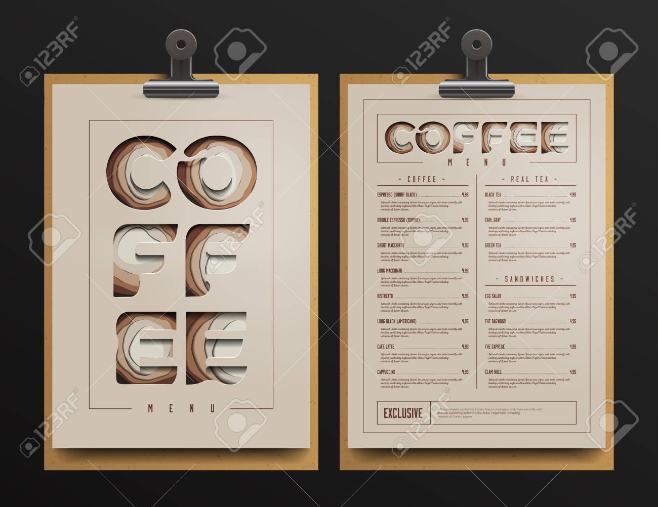 Coffee Shop Menu Template Cart Mock Up Vector Illustration Stock
