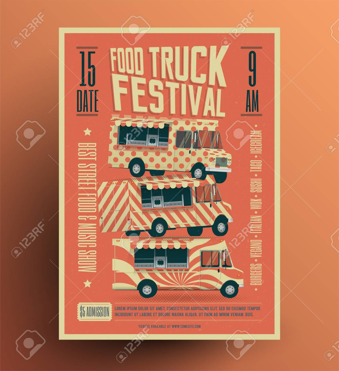 Food Truck Street Food Festival Poster Flyer Template Vintage - Food truck flyer template