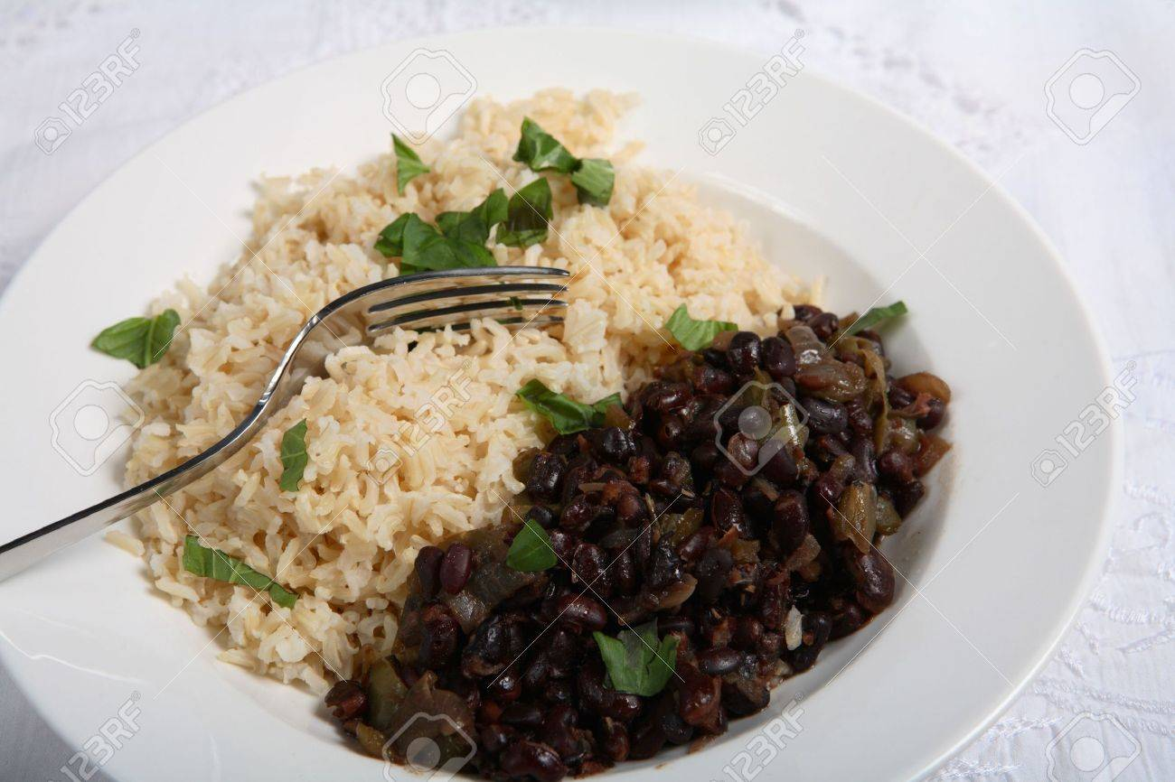Cuban black-beans and rice, a very traditional dish known as Stock Photo - 3779525