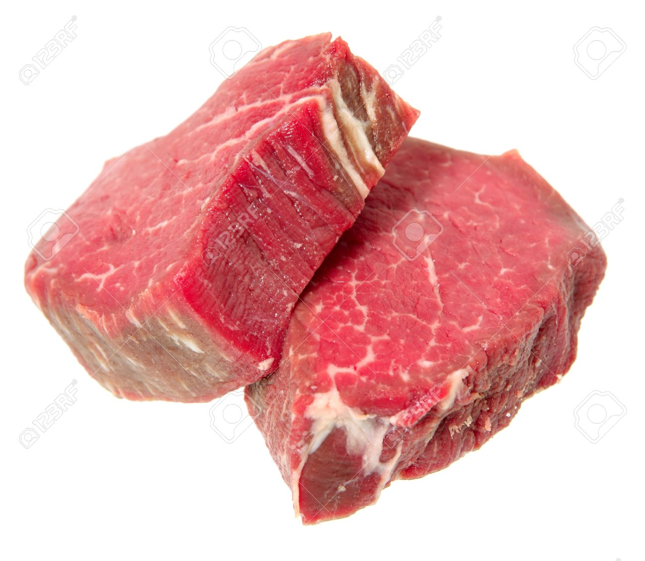 two filet mignon steaks cut from beef tenderloin isolated on