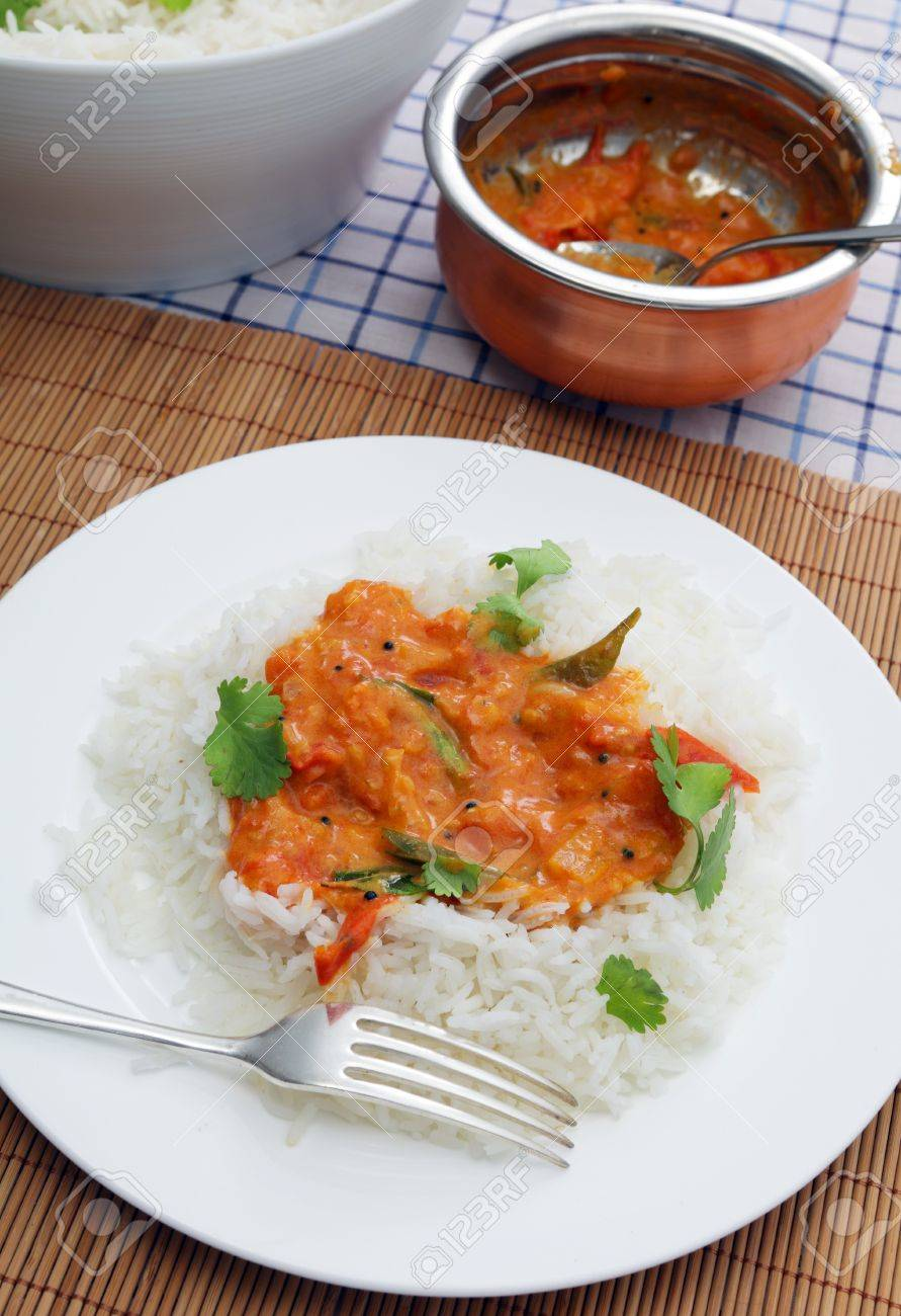 A Homemade Tomato Curry, Thickened With Coconut And Garnished ...