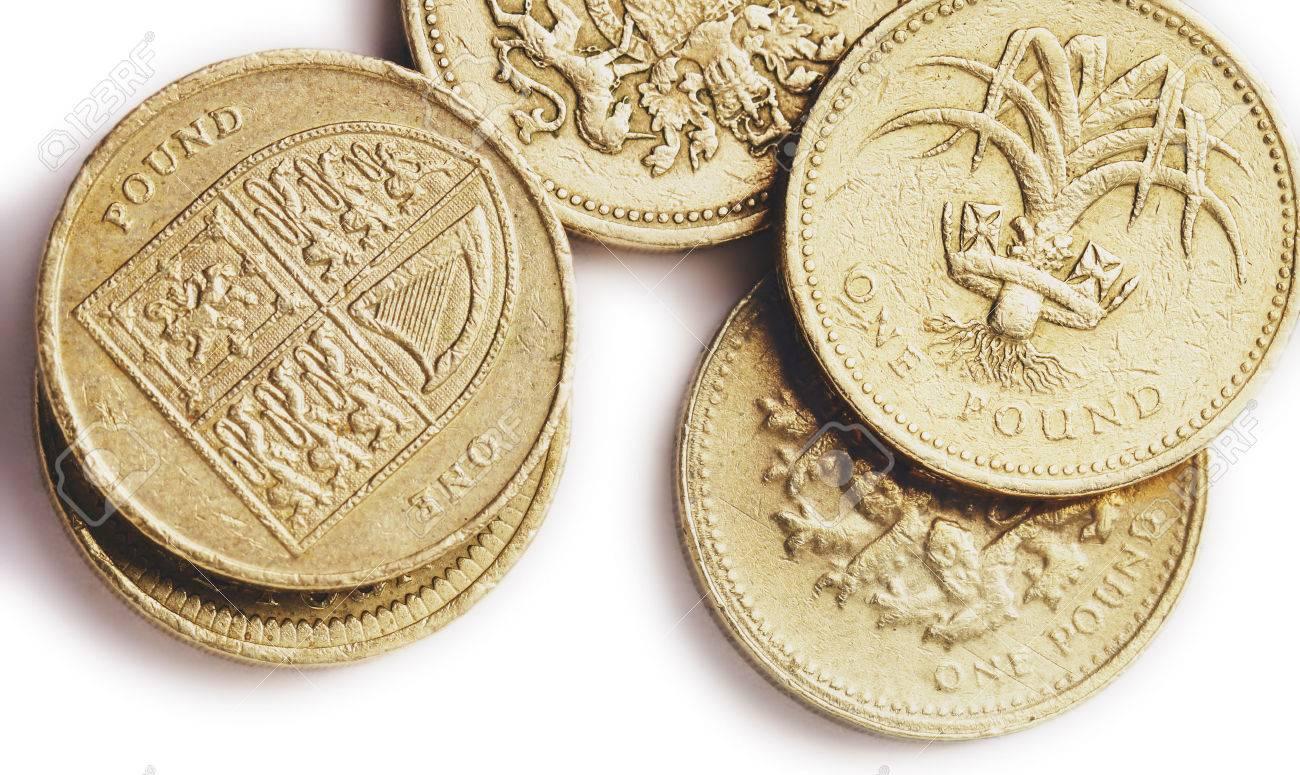 Eine Zusammenstellung Der Briten Eine Pfund Münzen Ein Die Die Uk