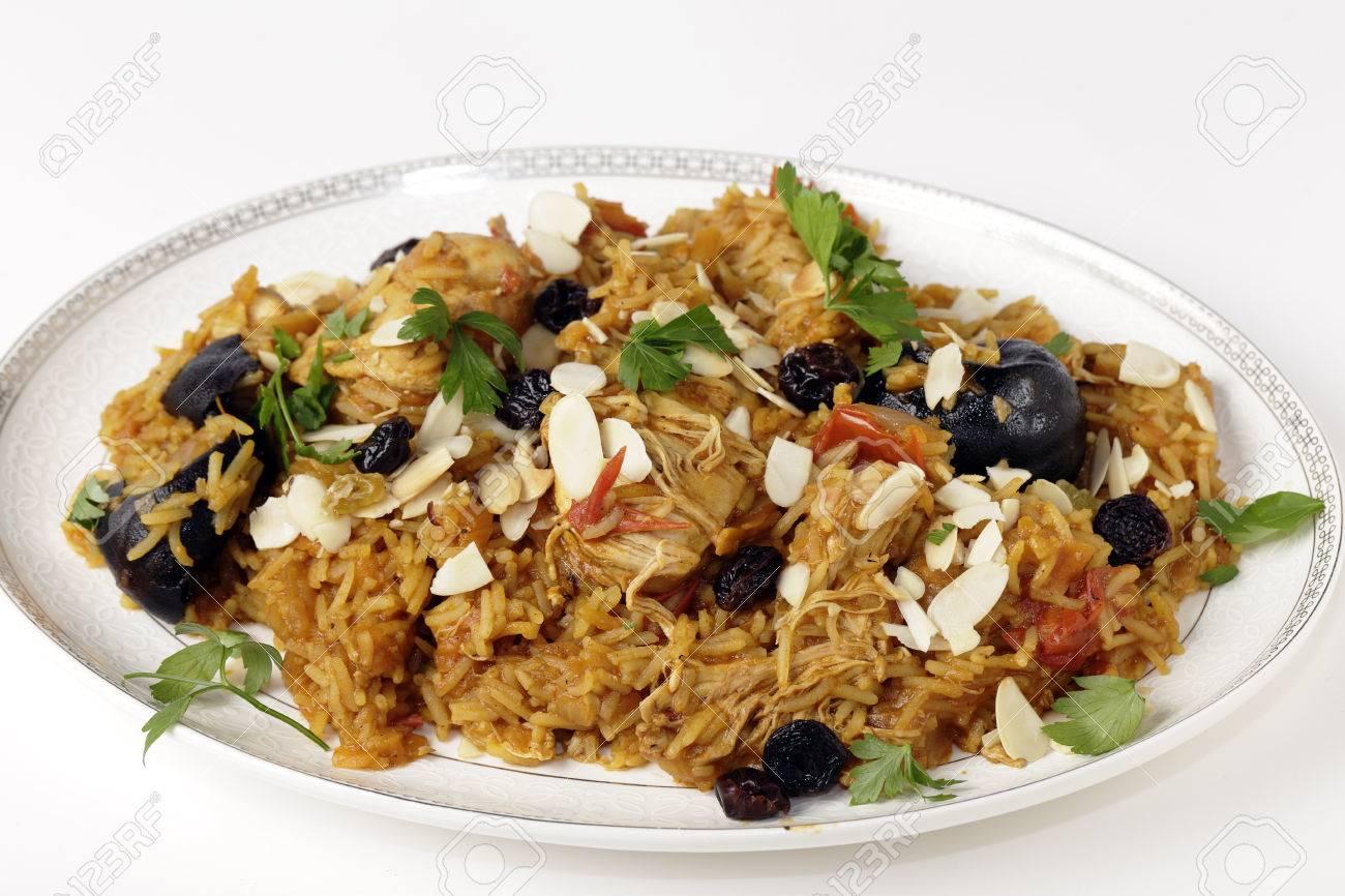 An authentic Saudi chicken kabsa (known in Qatar as majbous),