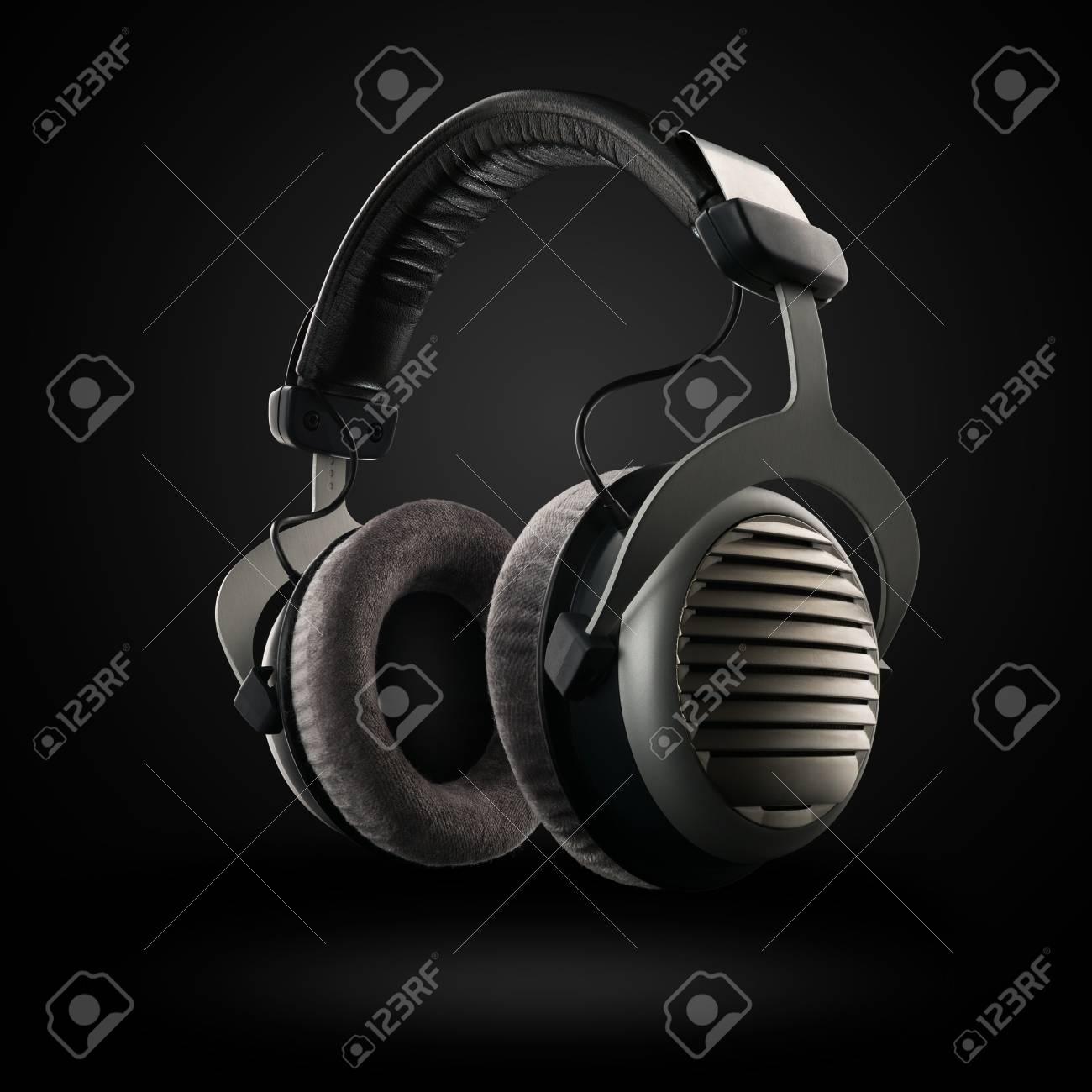 headphones on the black background - 52852870