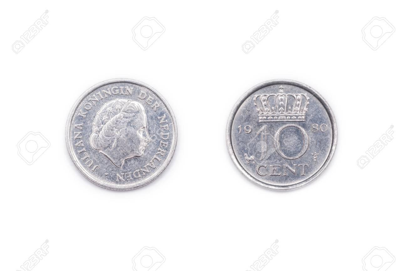 A Niederlande Zehn Cent Münze Geprägt 1980 Und Mit Königin Juliana