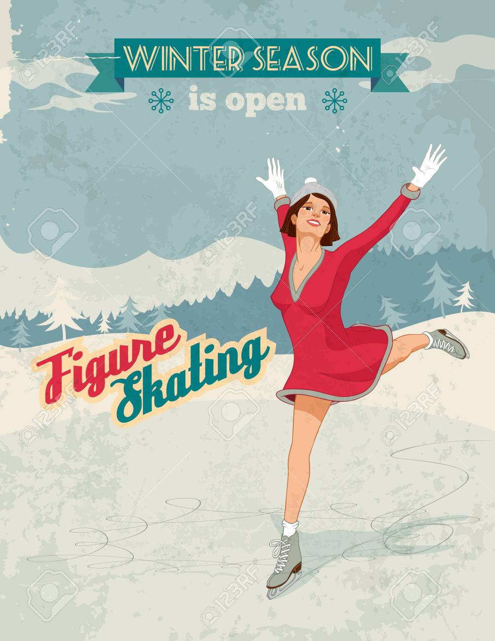 Winter sport poster in retro style with figure skater girl and titles  Fully layered Stock Vector - 25309113